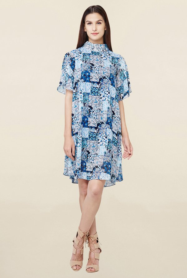 AND Blue Printed Trapeze Dress