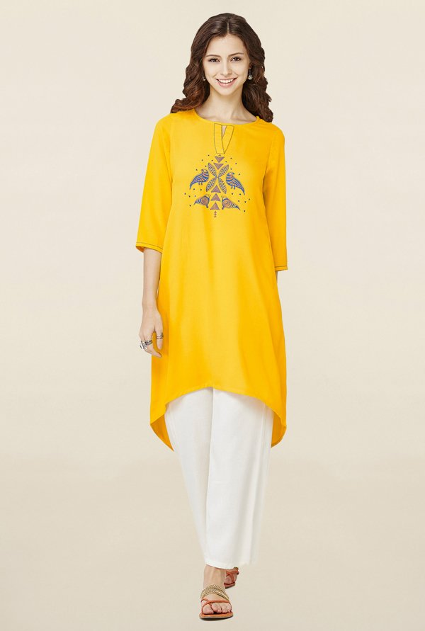 Global Desi Yellow Printed Kurti