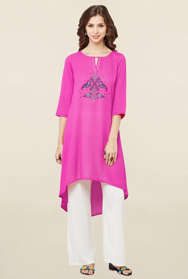 Global Desi Pink Printed Kurti