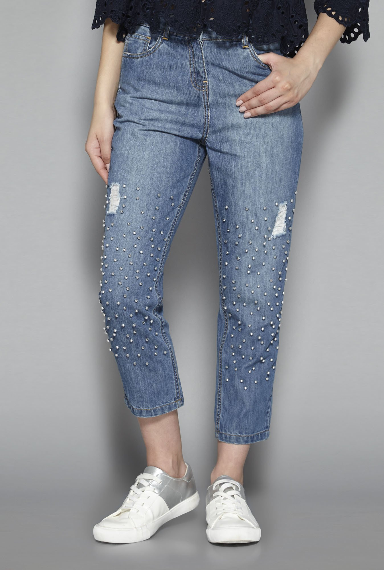 Nuon by Westside Mid Blue Sparkle Jeans