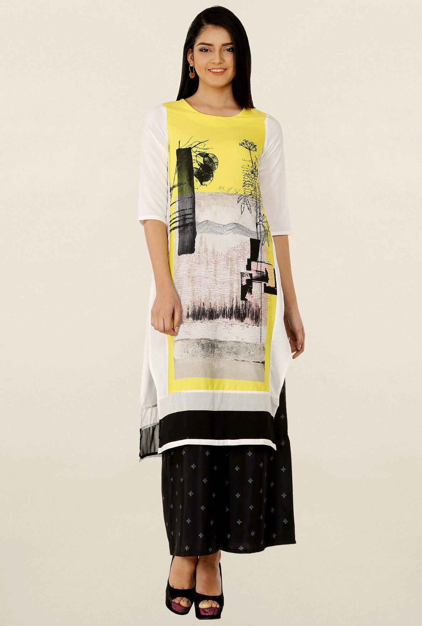 W Off White & Yellow Printed Kurta