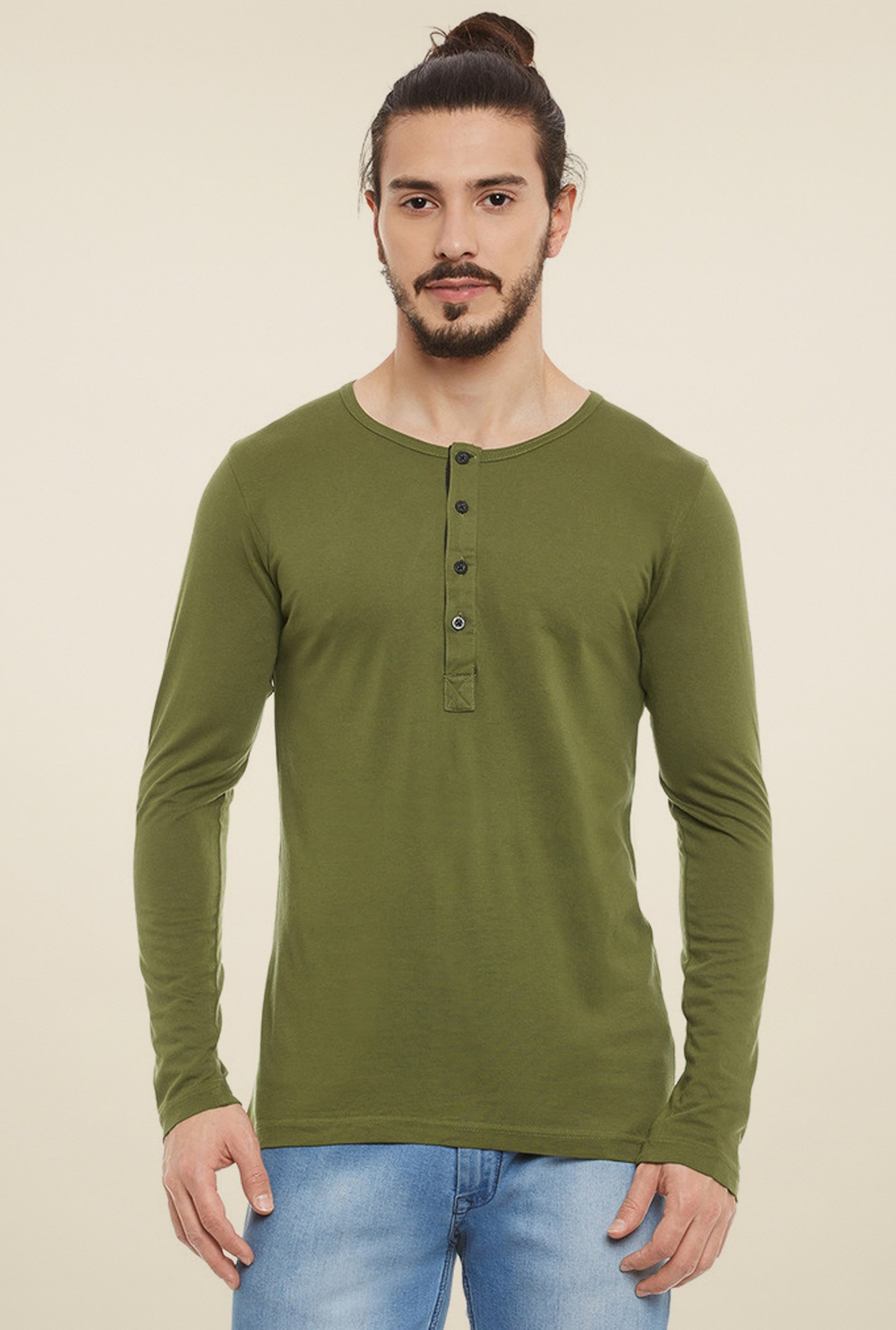Rigo Olive Slim Fit Henley T-Shirt