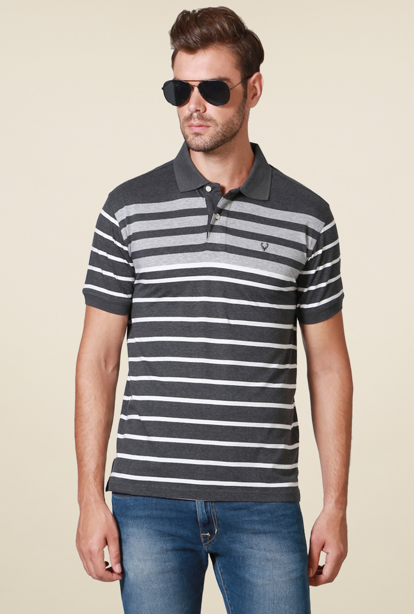 Allen Solly Dark Grey Regular Fit Polo Cotton T-Shirt
