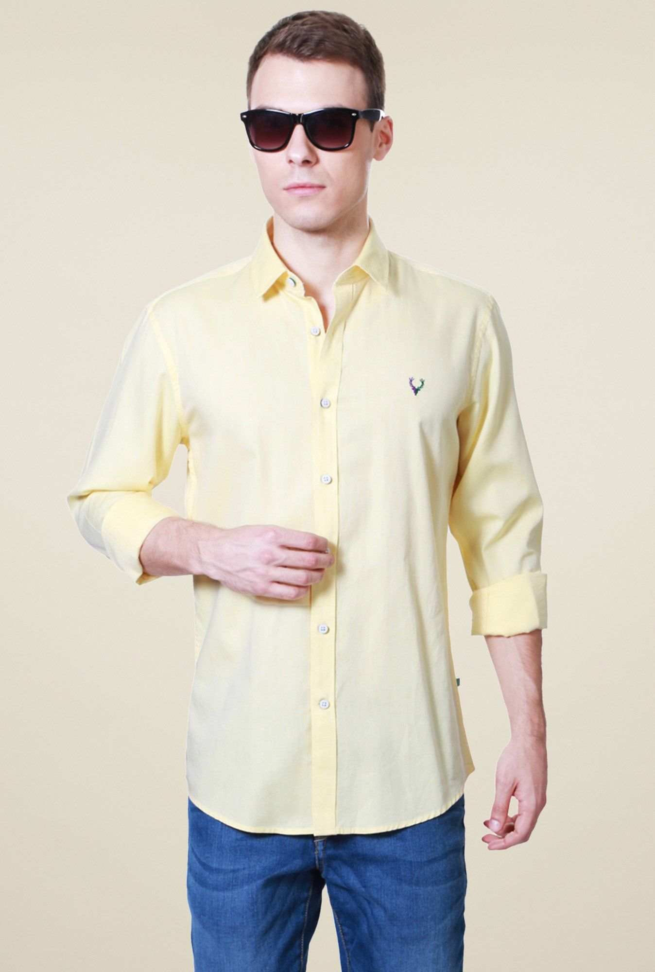 Allen Solly Yellow Full Sleeves Regular Fit Shirt