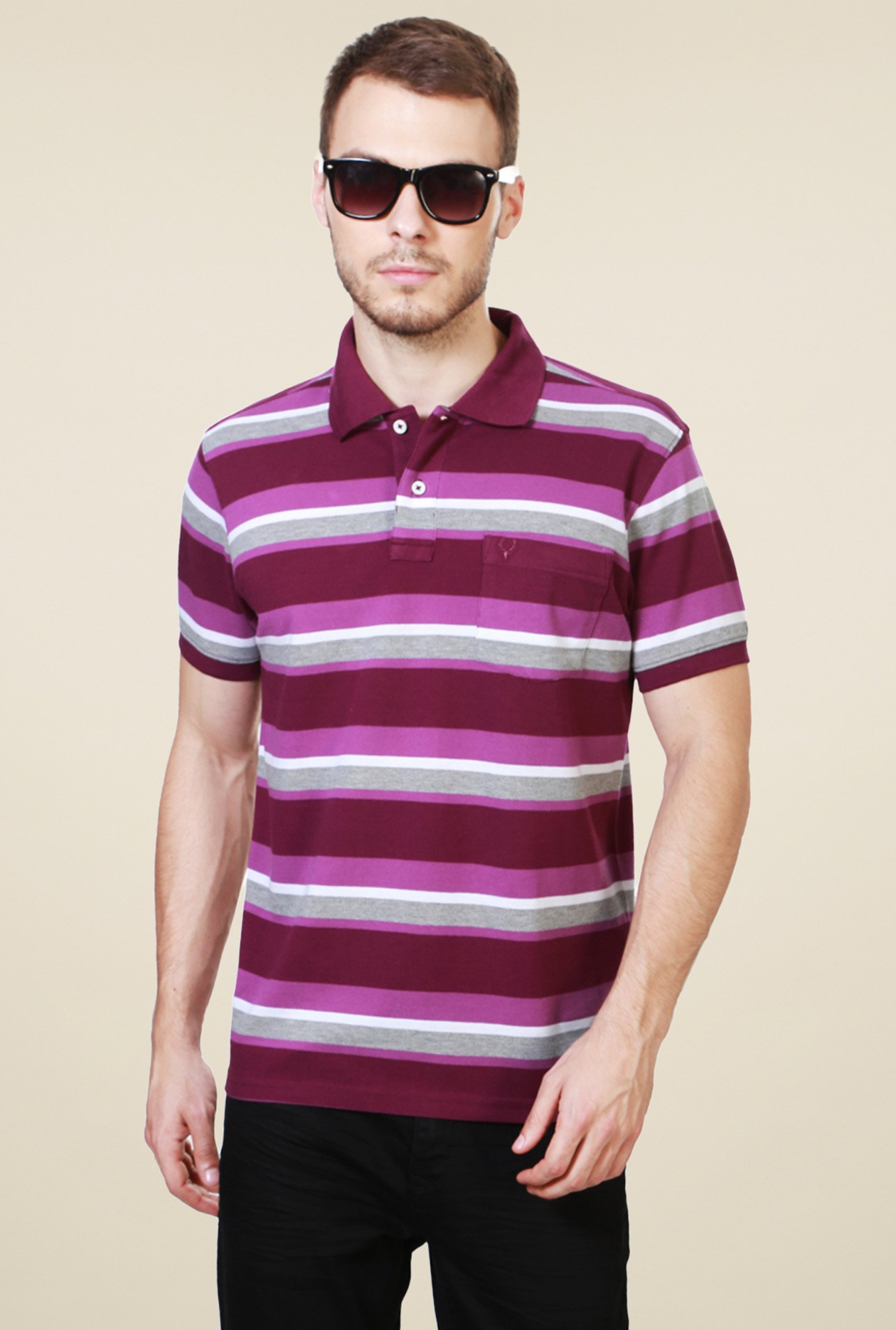 Allen Solly Maroon Striped Polo T-Shirt