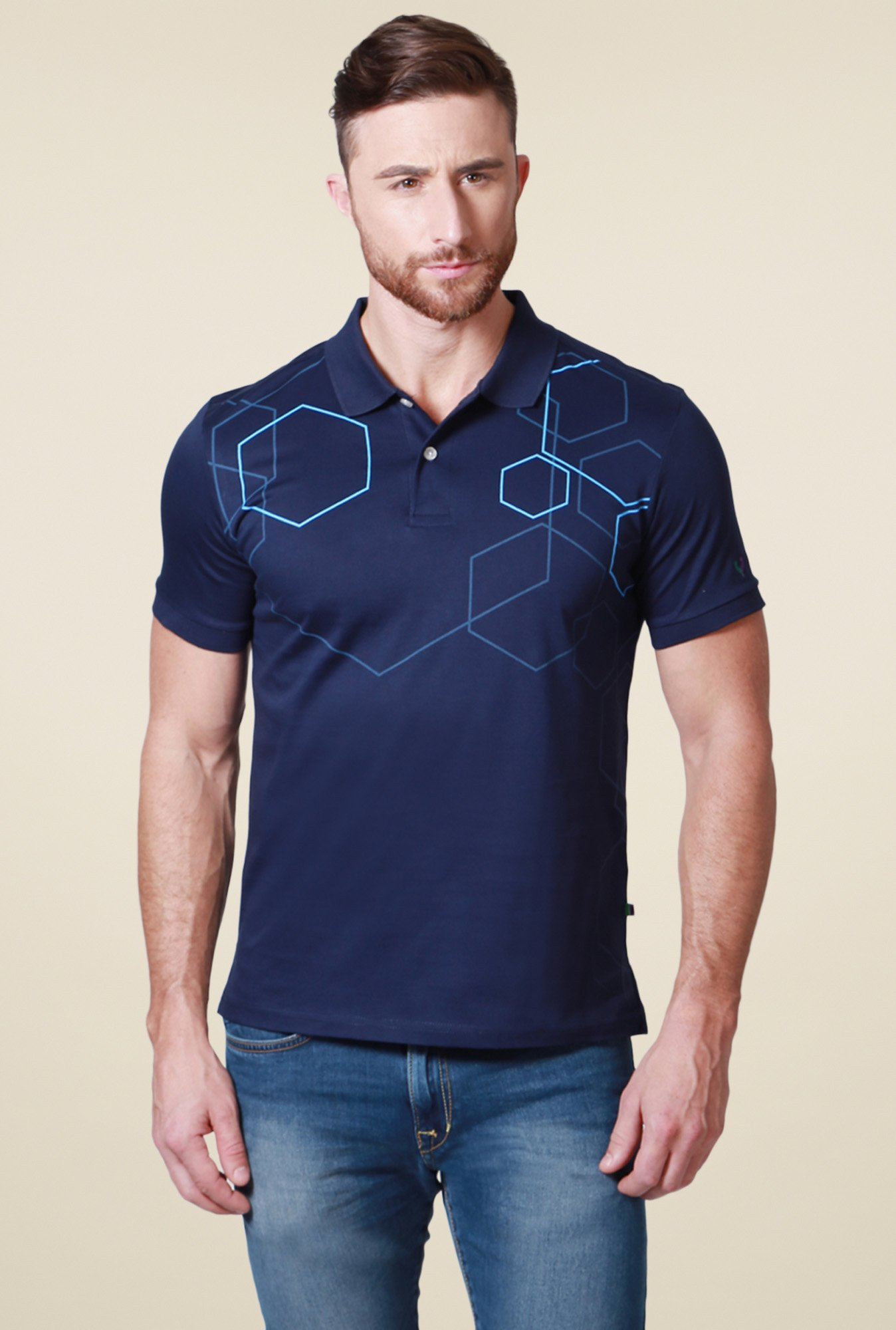 Allen Solly Navy Regular Fit Printed Cotton T-Shirt