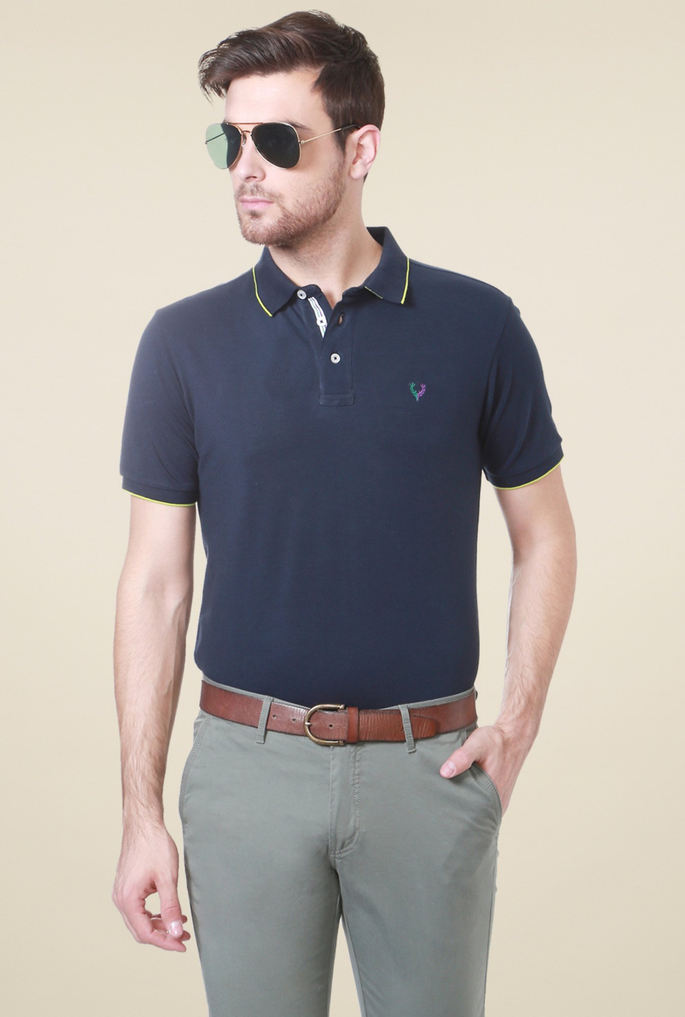 Allen Solly Navy Regular Fit Cotton Polo T-Shirt