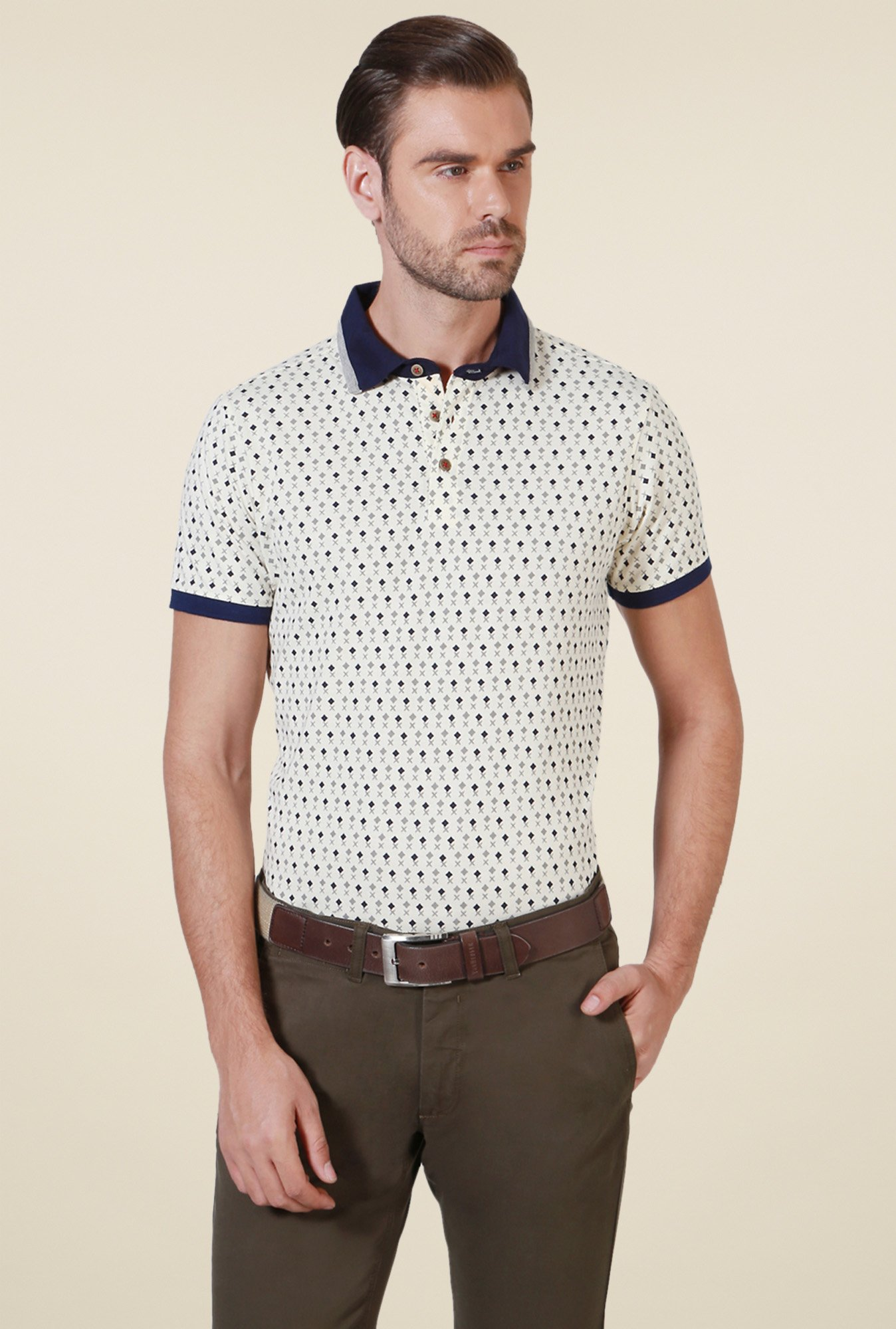 Allen Solly Beige Half Sleeves Polo T-Shirt