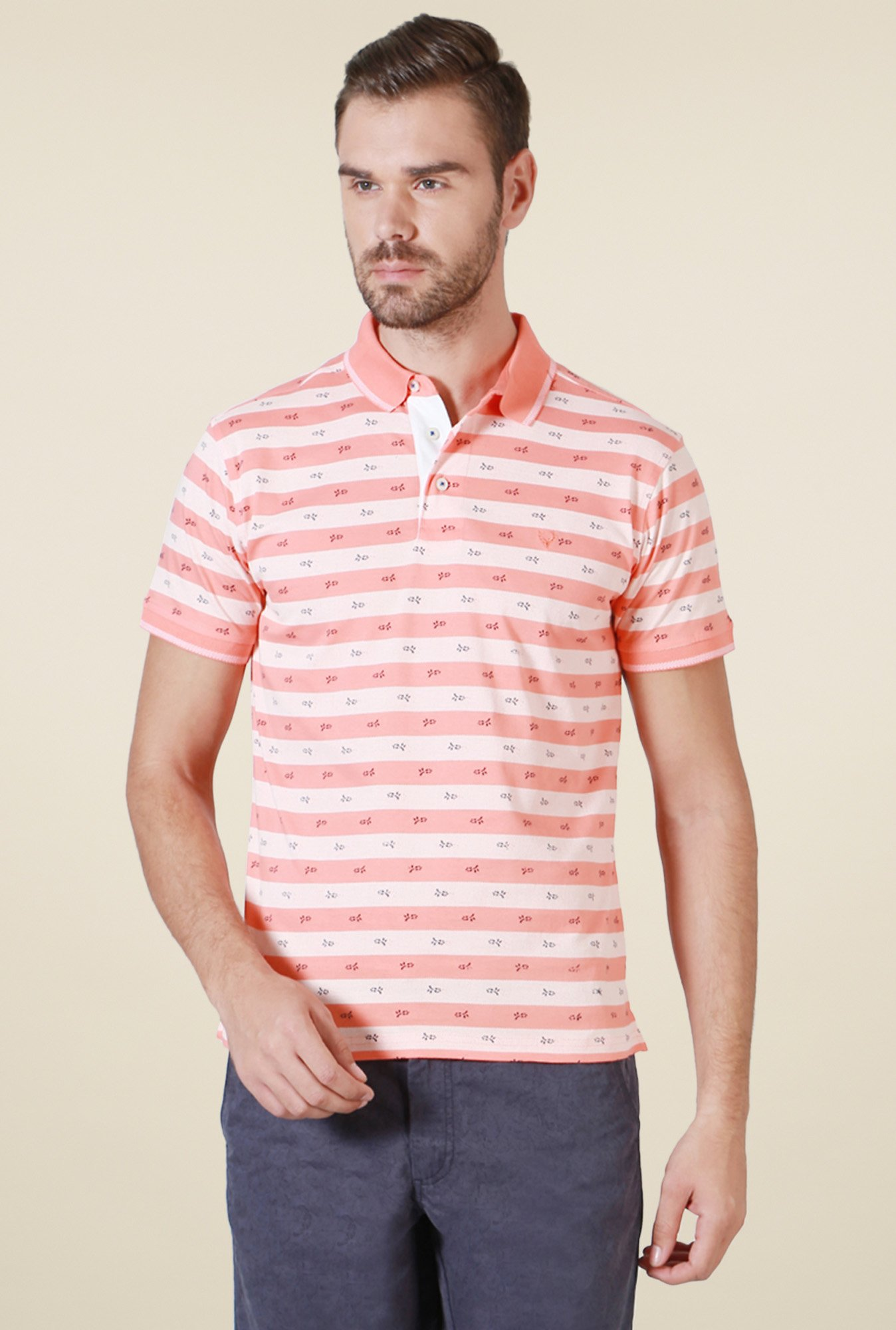 Allen Solly Peach Striped T-Shirt