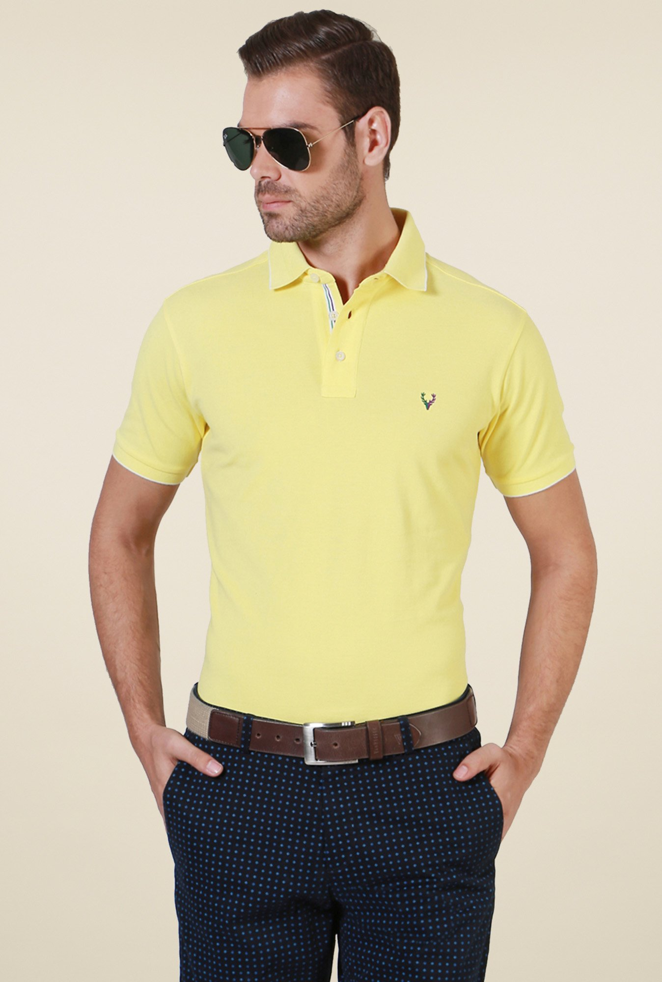 Allen Solly Yellow Half Sleeves T-Shirt