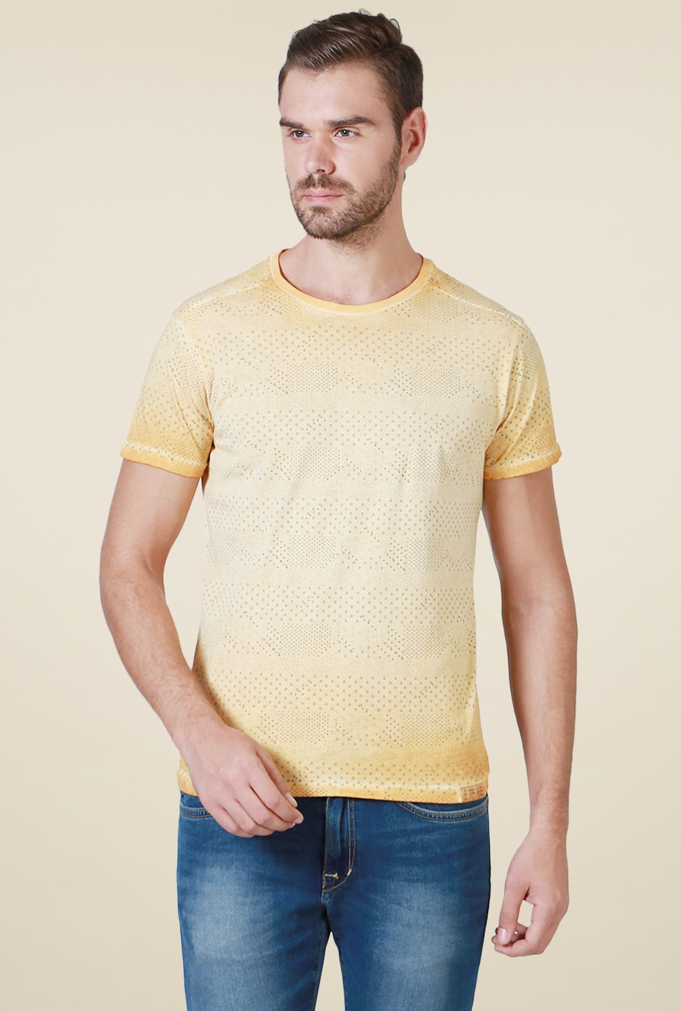 Allen Solly Yellow Printed Crew Neck Cotton T-Shirt