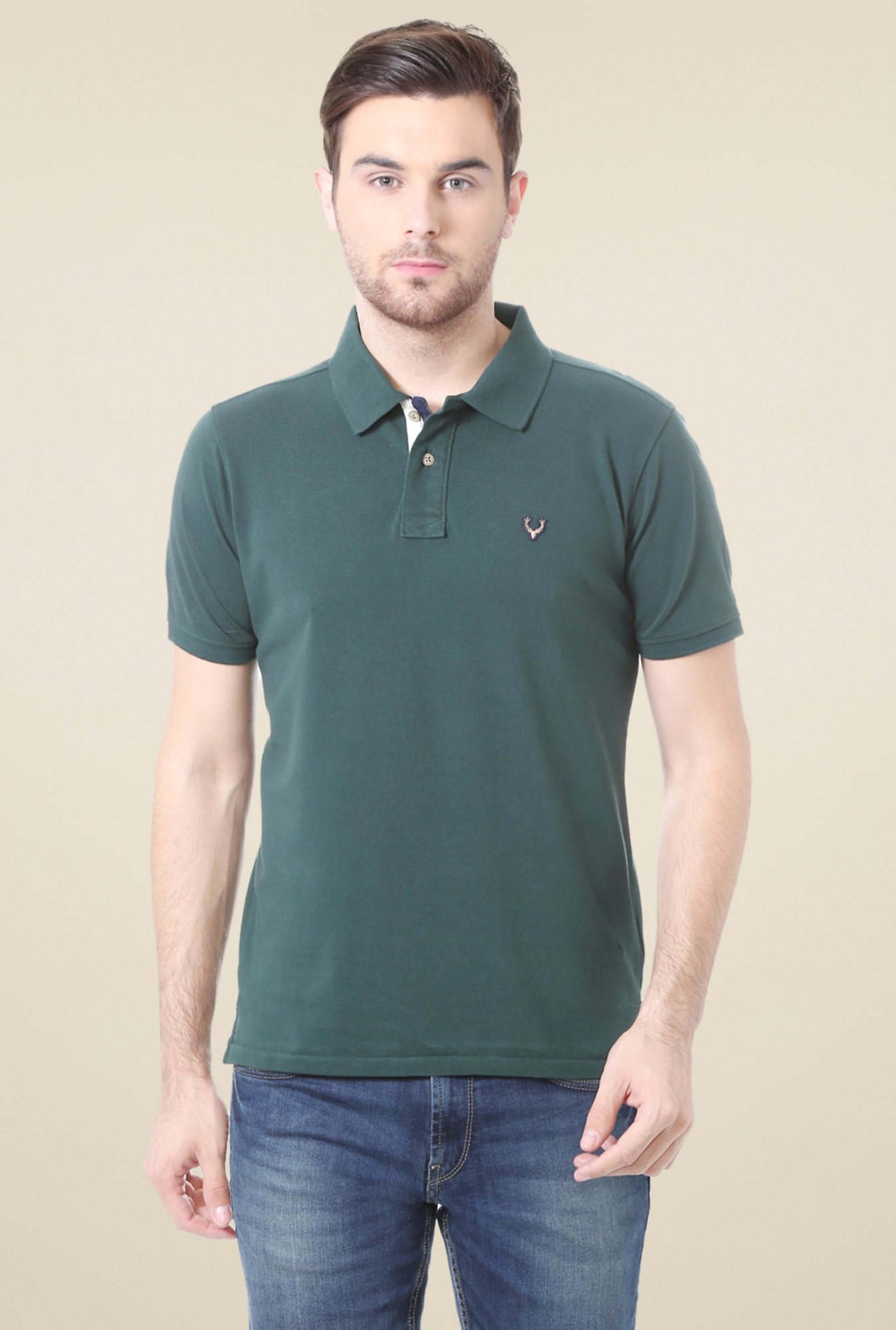 Allen Solly Dark Green Half Sleeves Cotton Polo T-Shirt