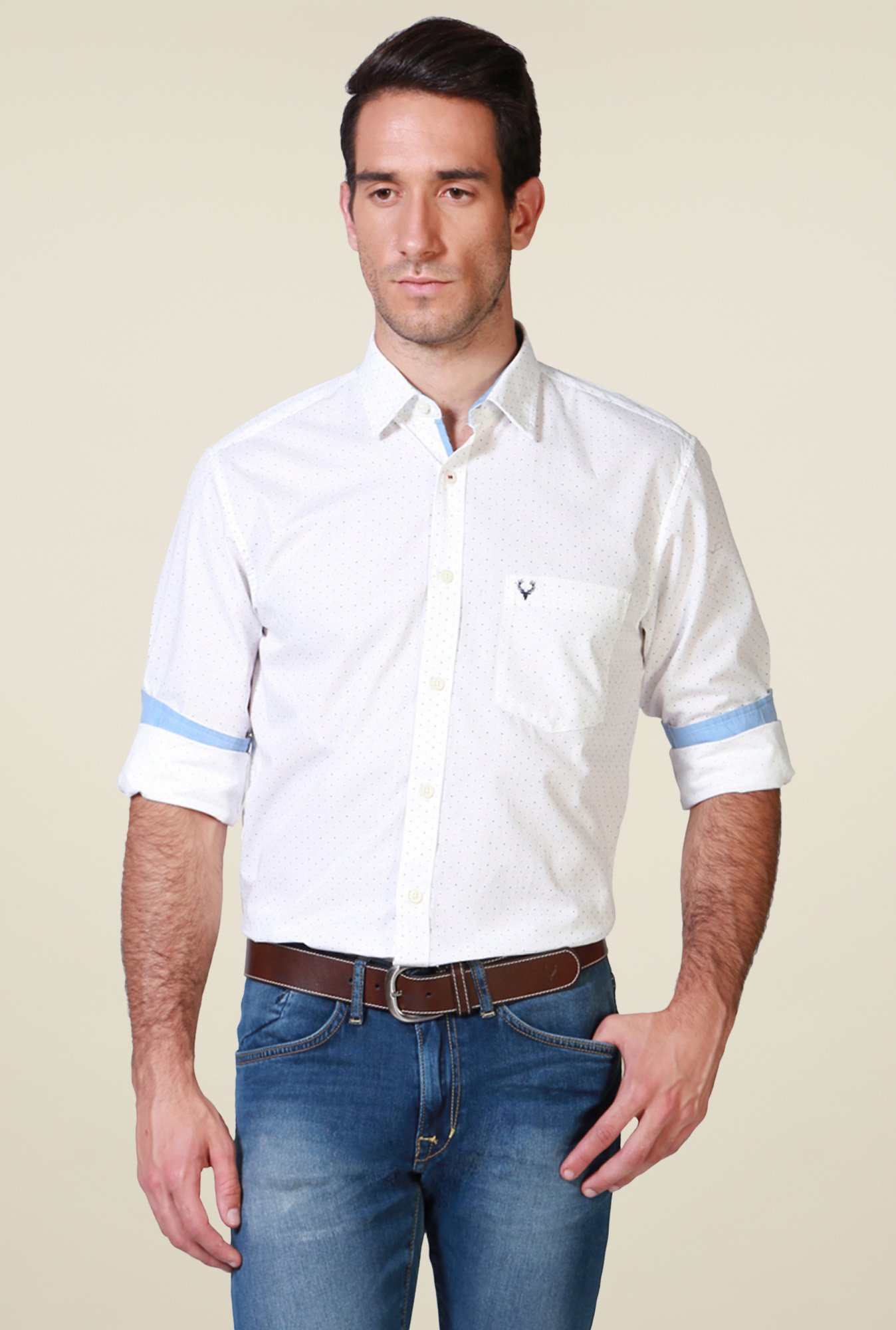 Allen Solly White Full Sleeves Cotton Shirt