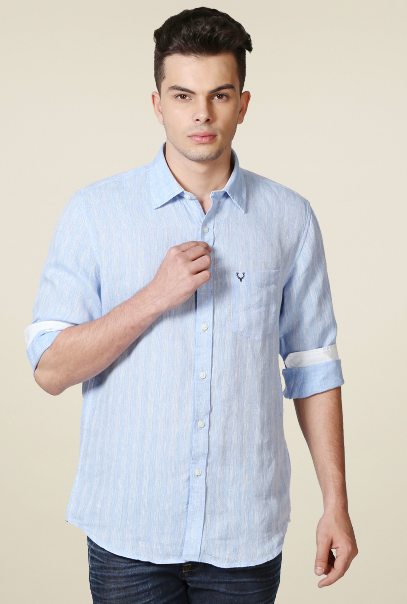 Allen Solly Blue Full Sleeves Slim Fit Self Shirt