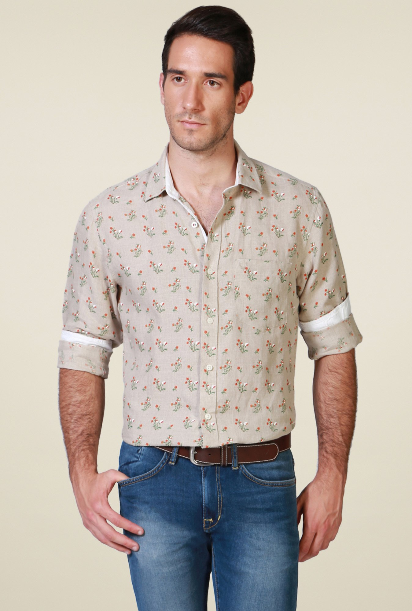 Allen Solly Beige Slim Fit Shirt