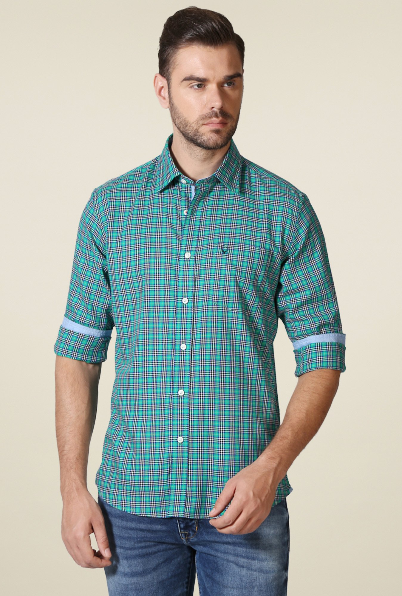 Allen Solly Turquoise Checks Shirt