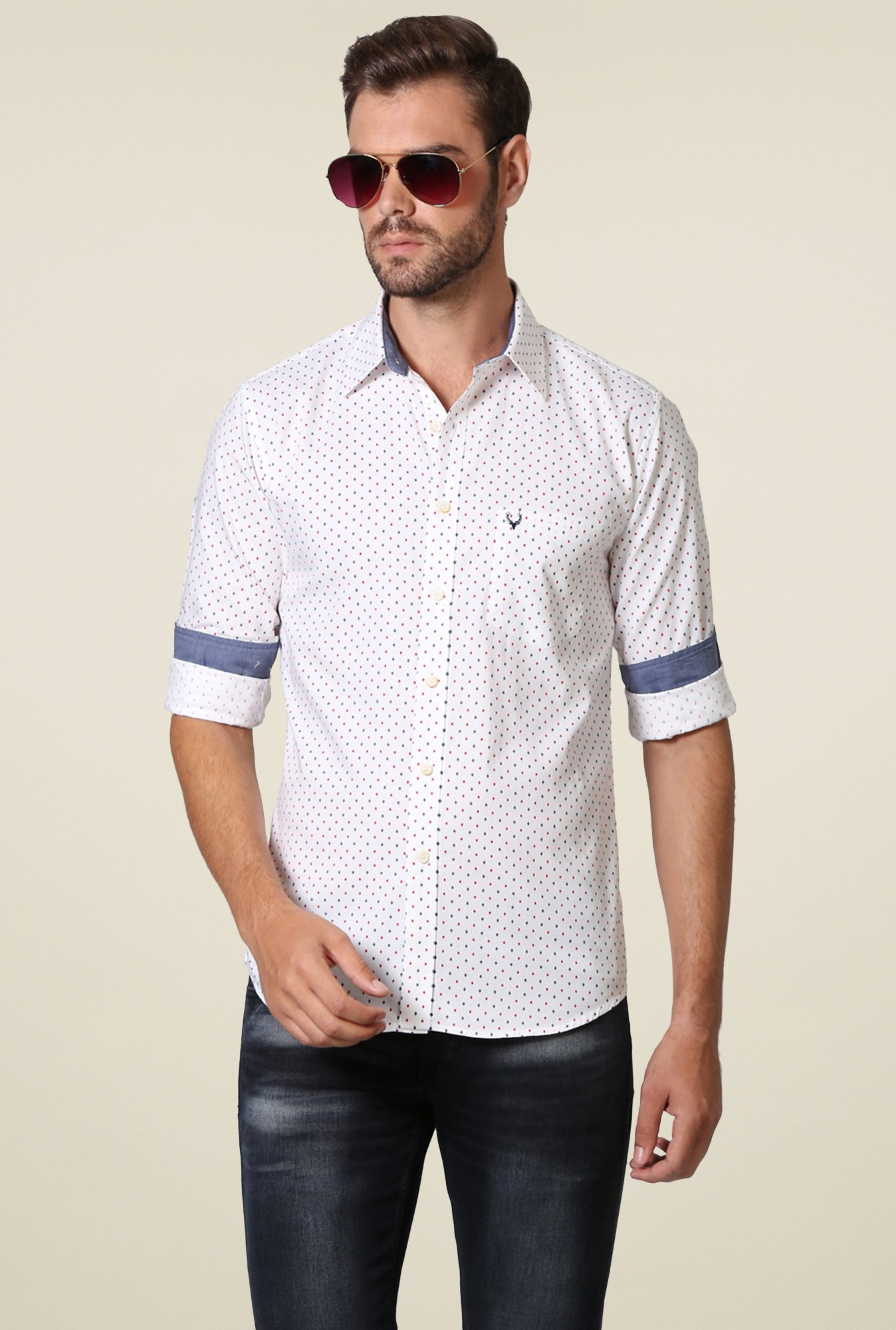 Allen Solly White Printed Cotton Slim Fit Shirt