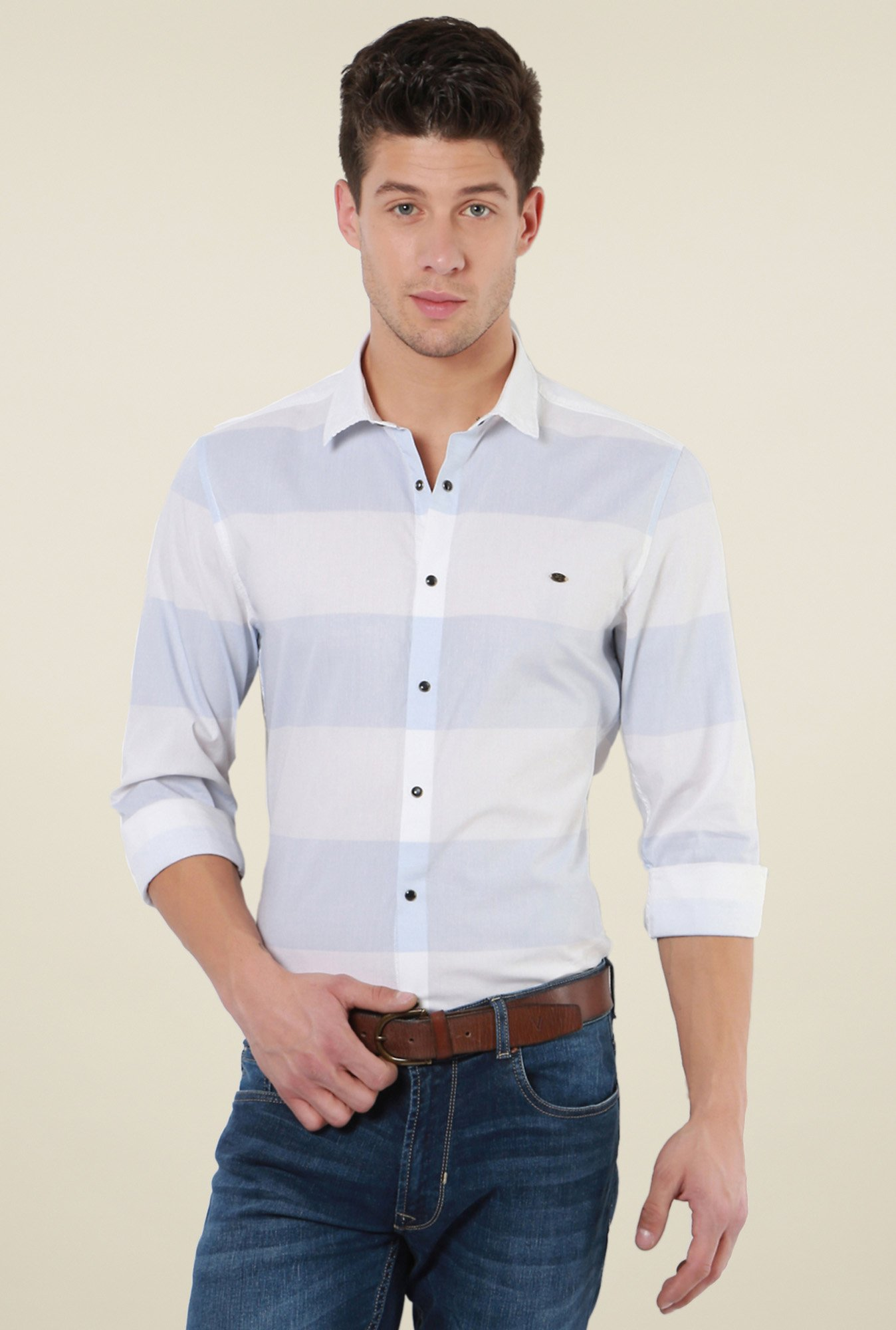 Peter England Blue & Cream Striped Shirt