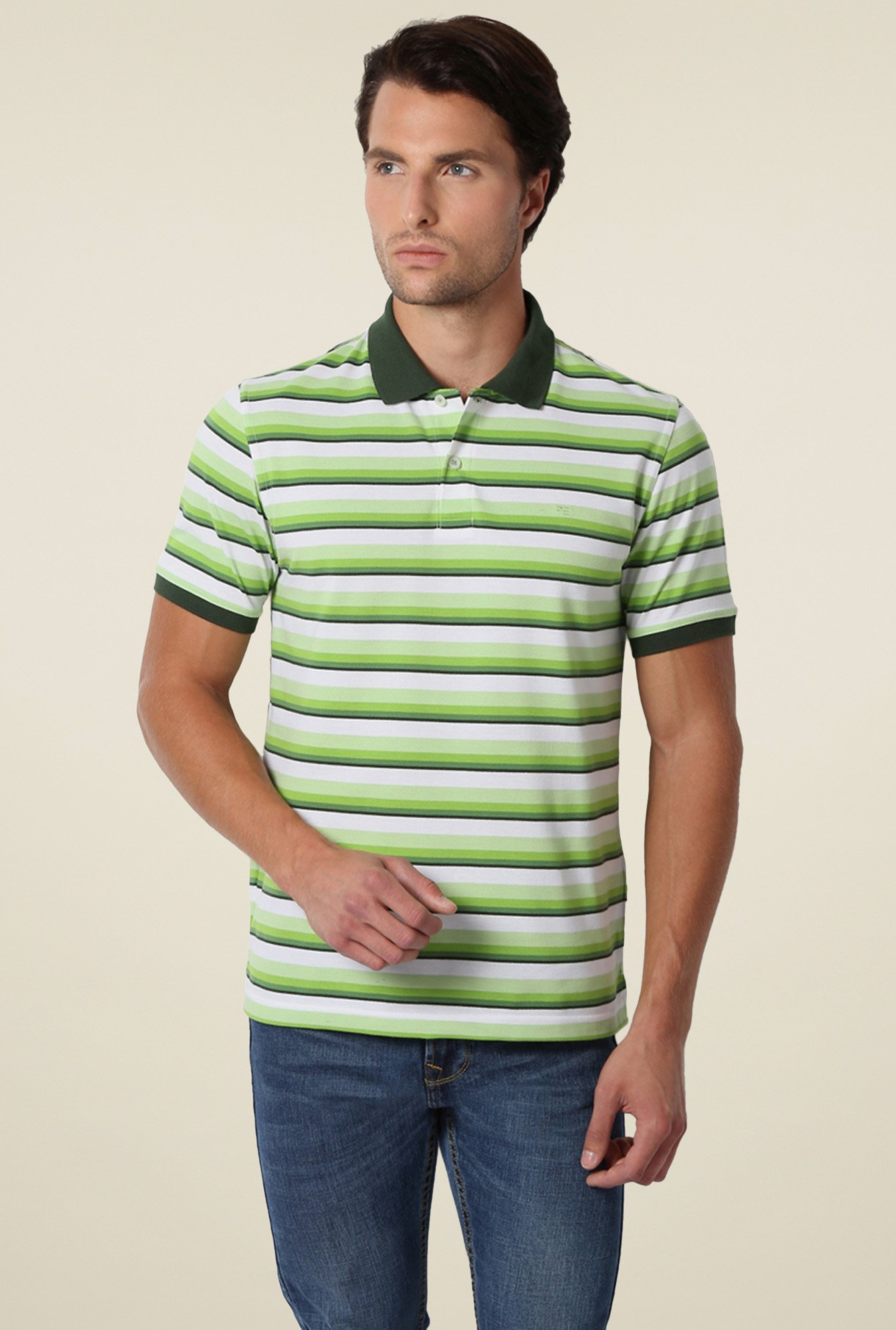 Peter England Olive & Lime Striped Regular Fit Polo T-Shirt