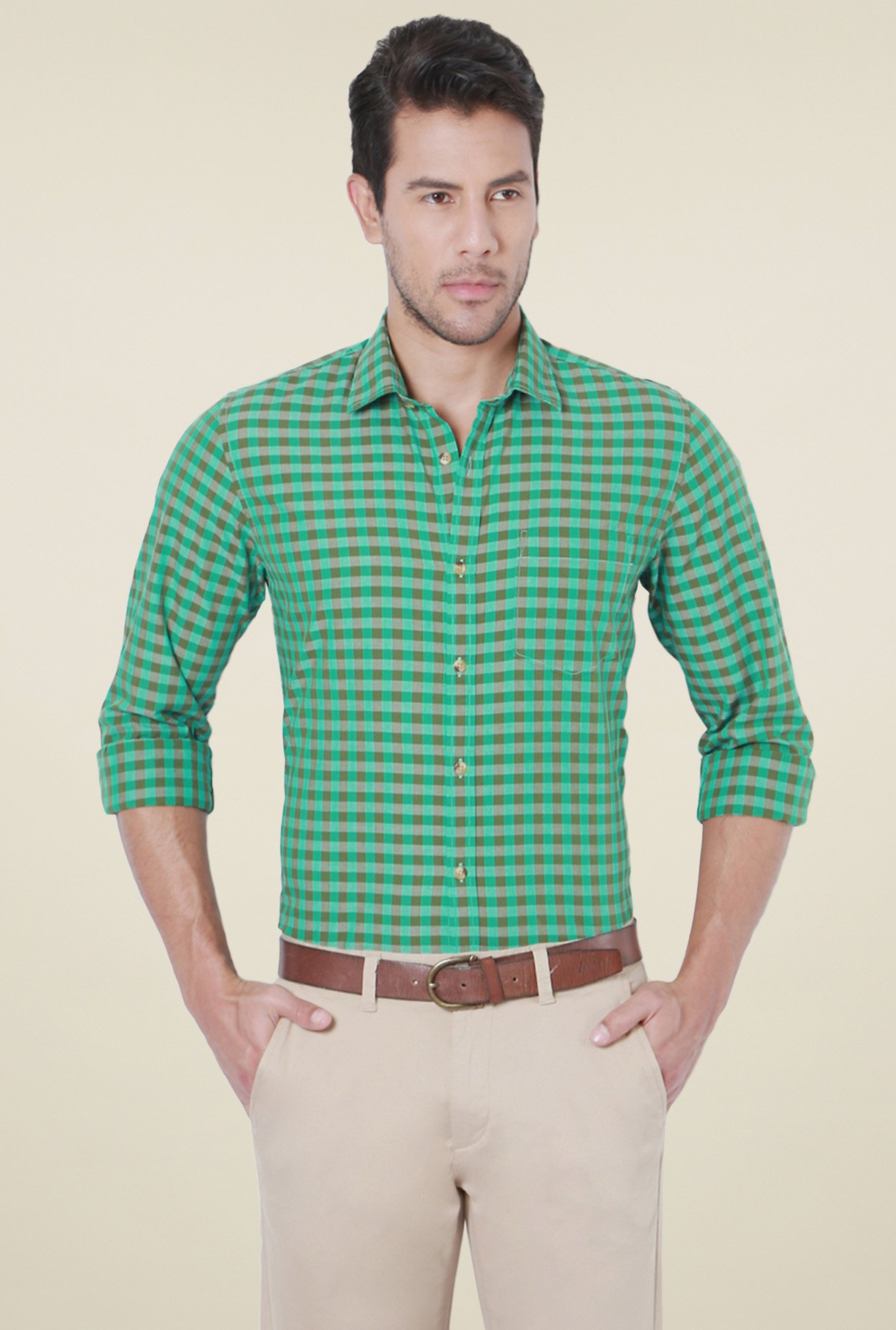 Peter England Green Cotton Checks Shirt