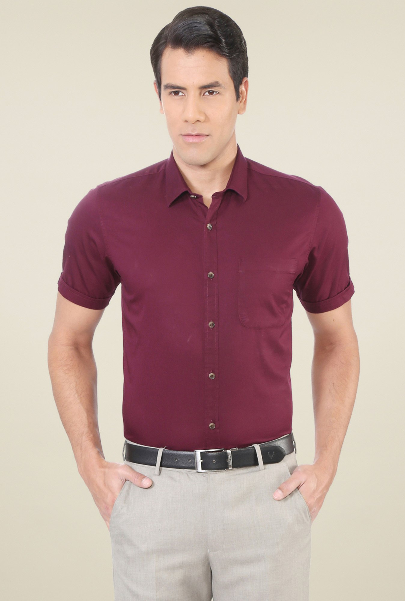 Peter England Maroon Half Sleeves Cotton Shirt