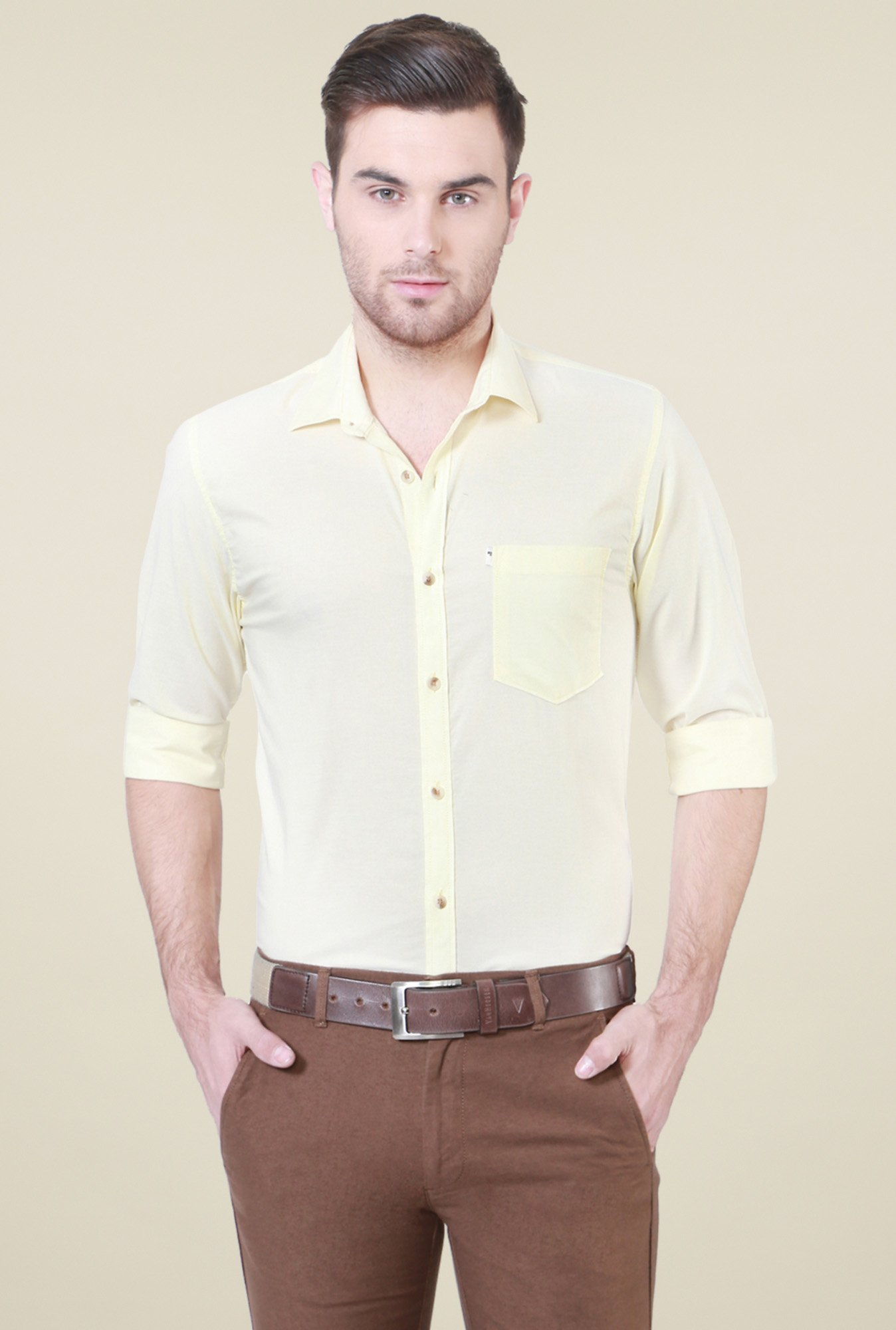 Peter England Yellow Solid Slim Fit Shirt