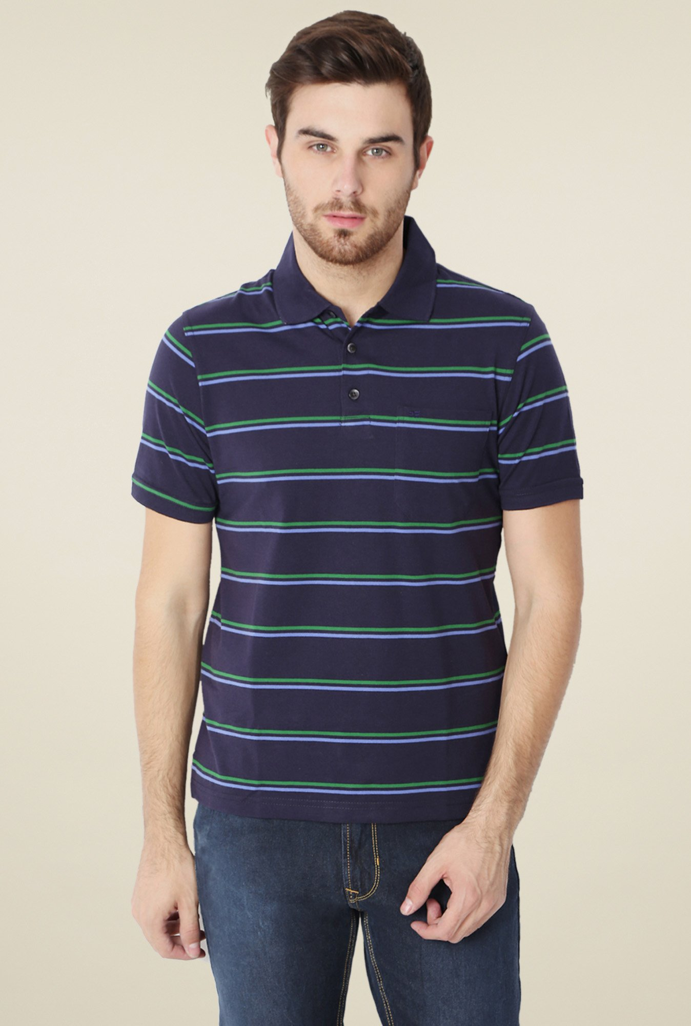 Peter England Navy Striped T-Shirt