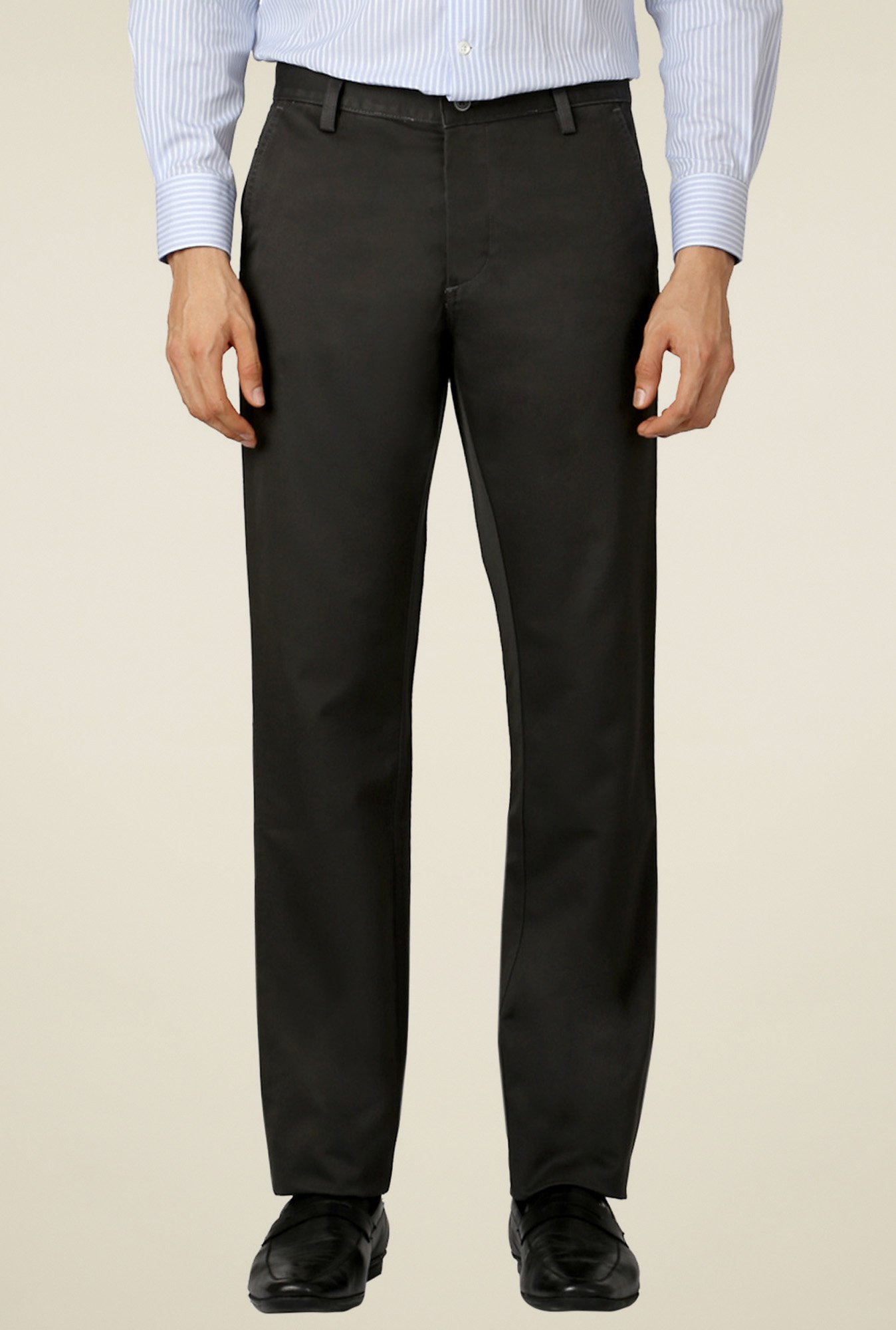 Allen Solly Black Mid Rise Trousers