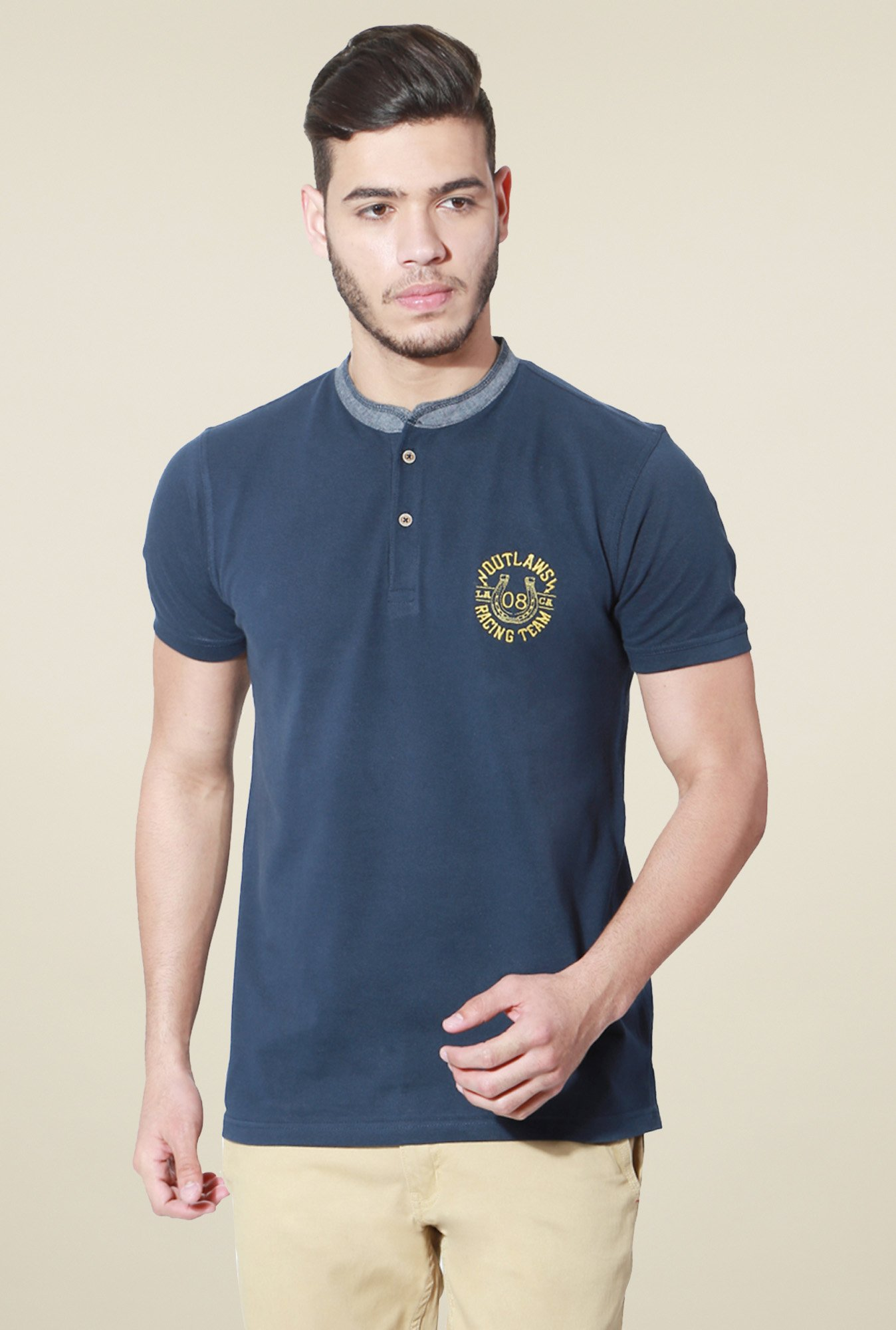 People Dark Blue Regular Fit Cotton Henley T-Shirt