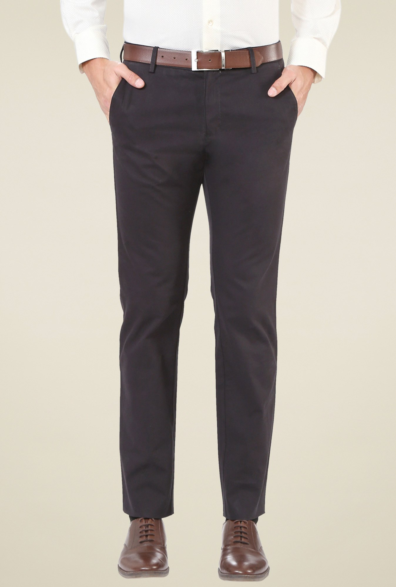 Allen Solly Black Slim Fit Mid Rise Trousers