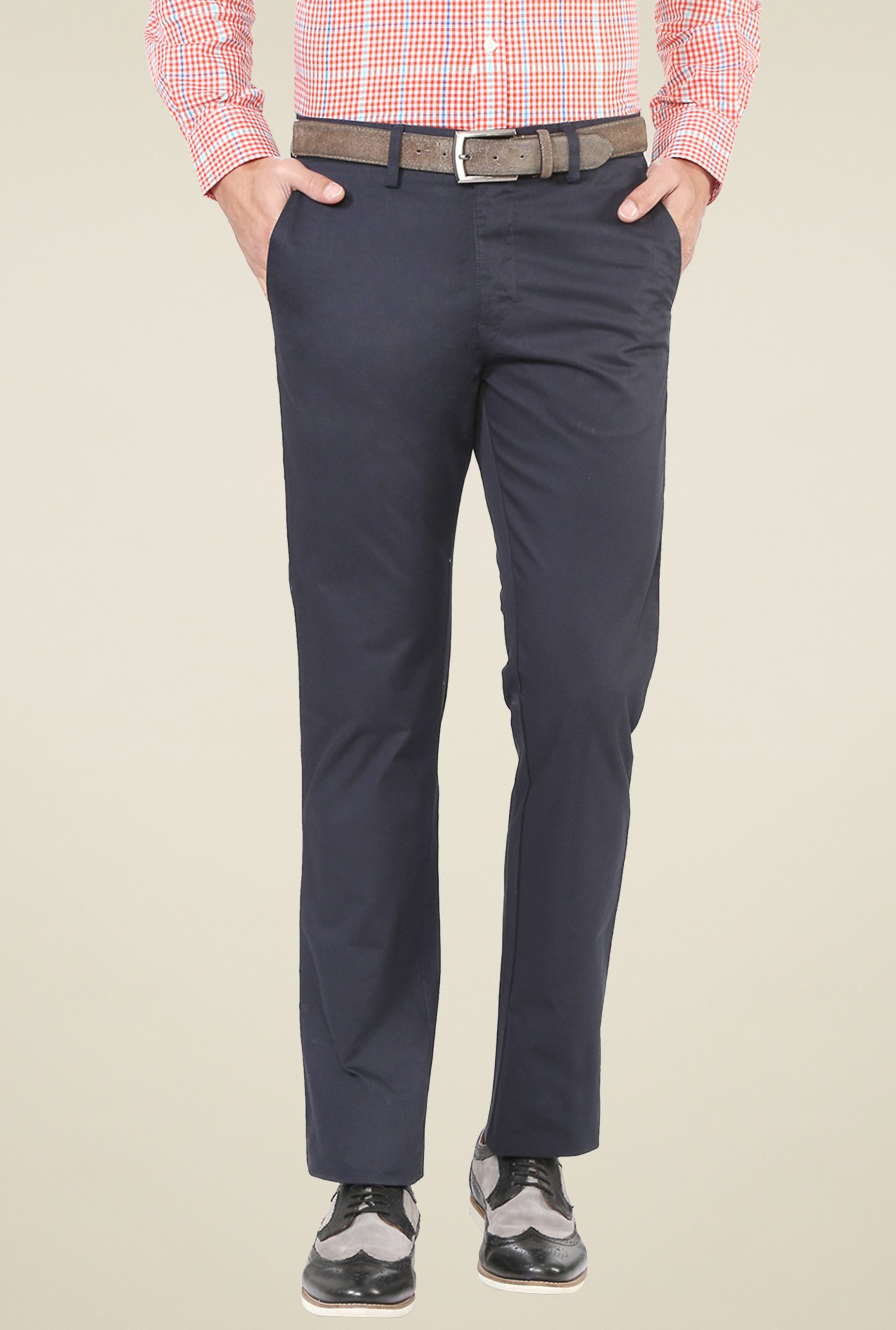 Allen Solly Navy Ultra Slim Fit Trousers