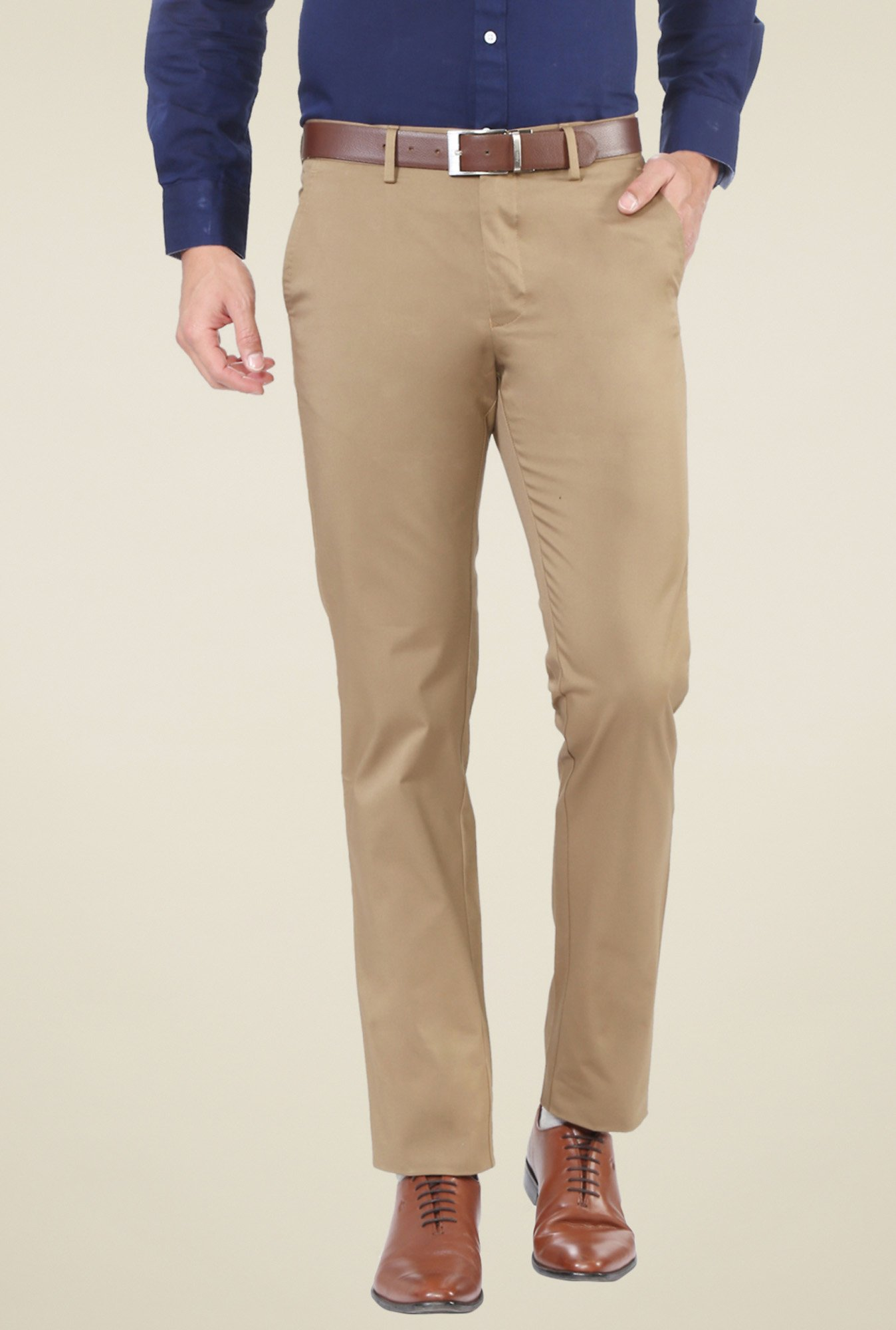 Allen Solly Brown Mid Rise Trousers