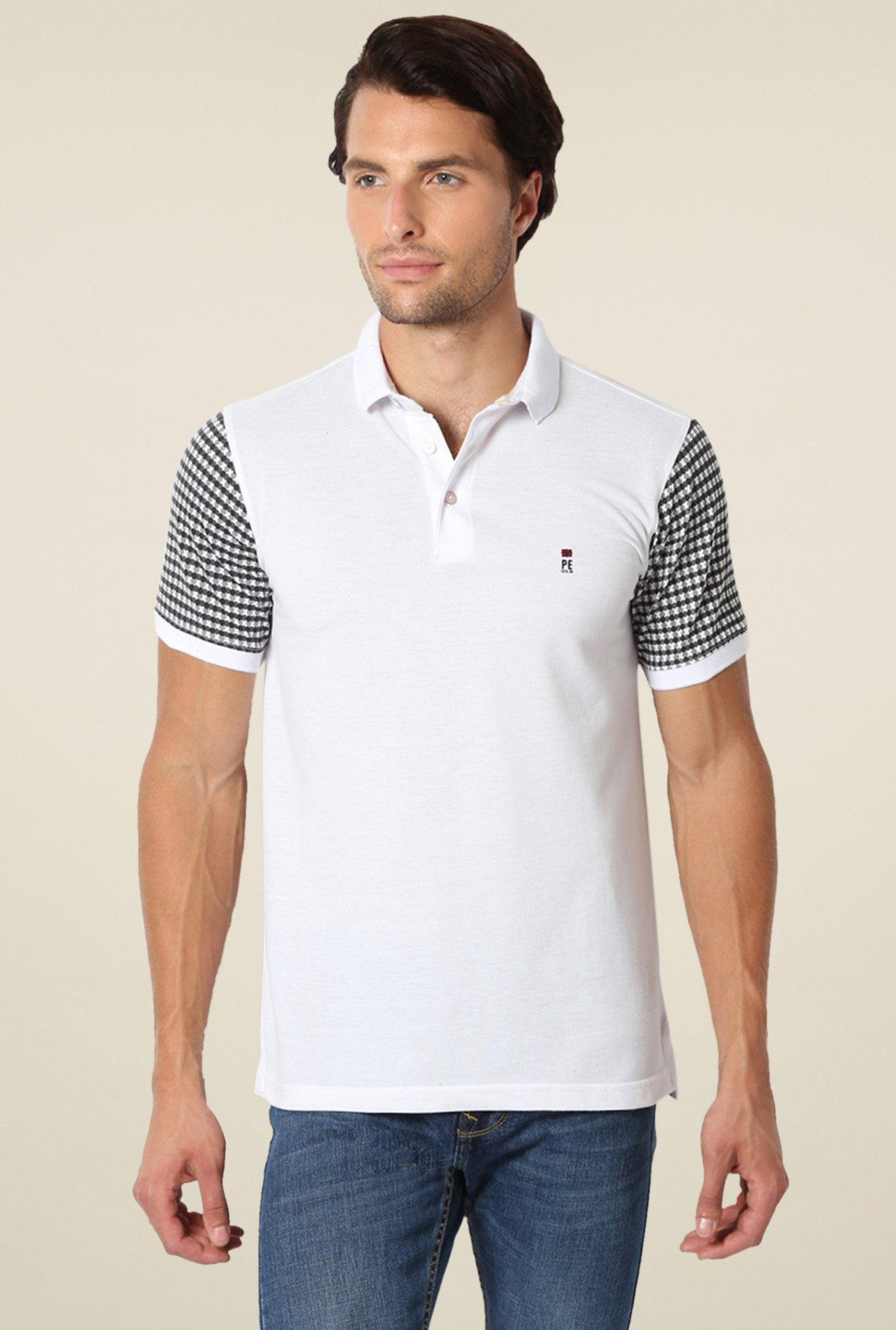 Peter England White Polo T-Shirt