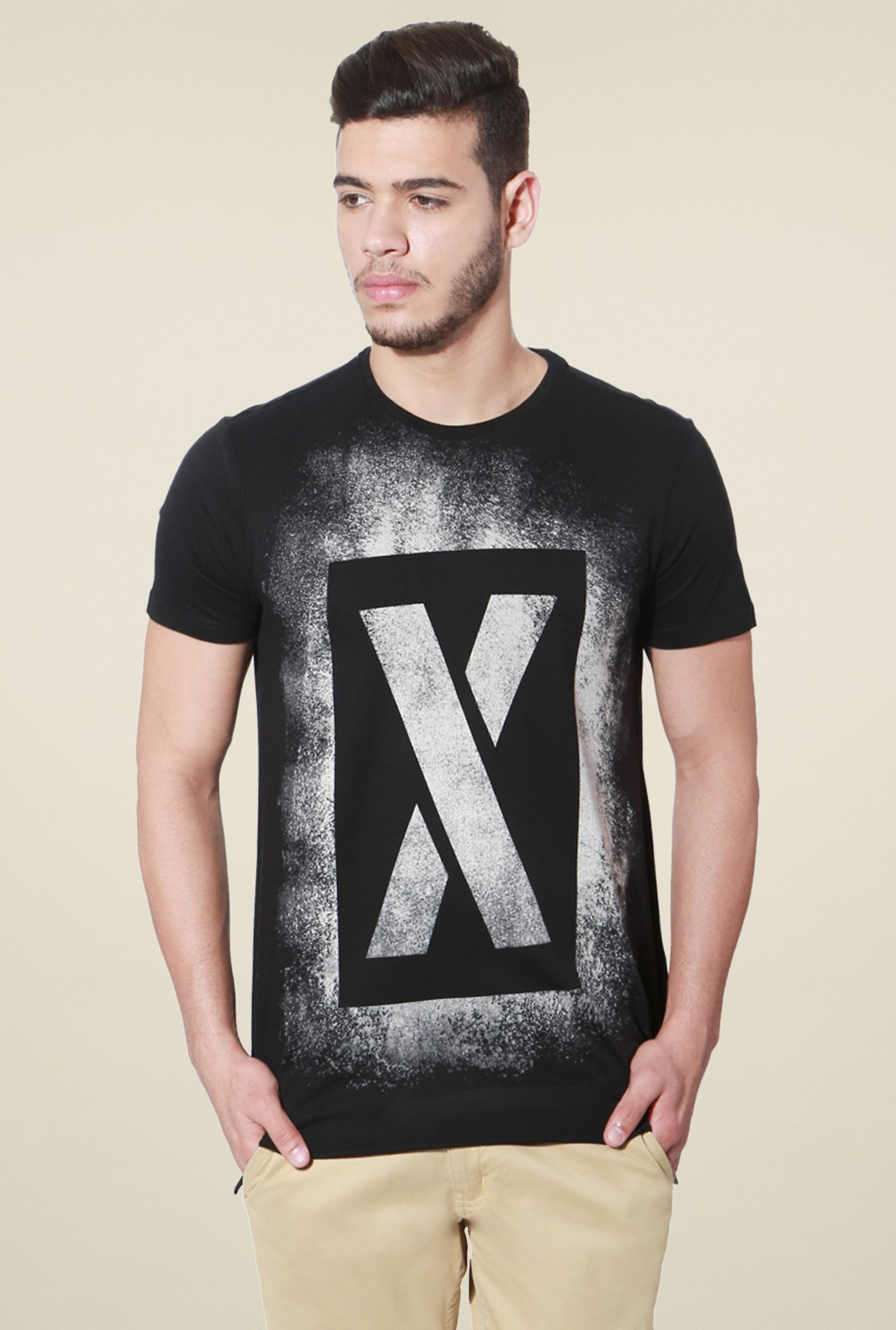 People Black Printed Half Sleeves T-Shirt