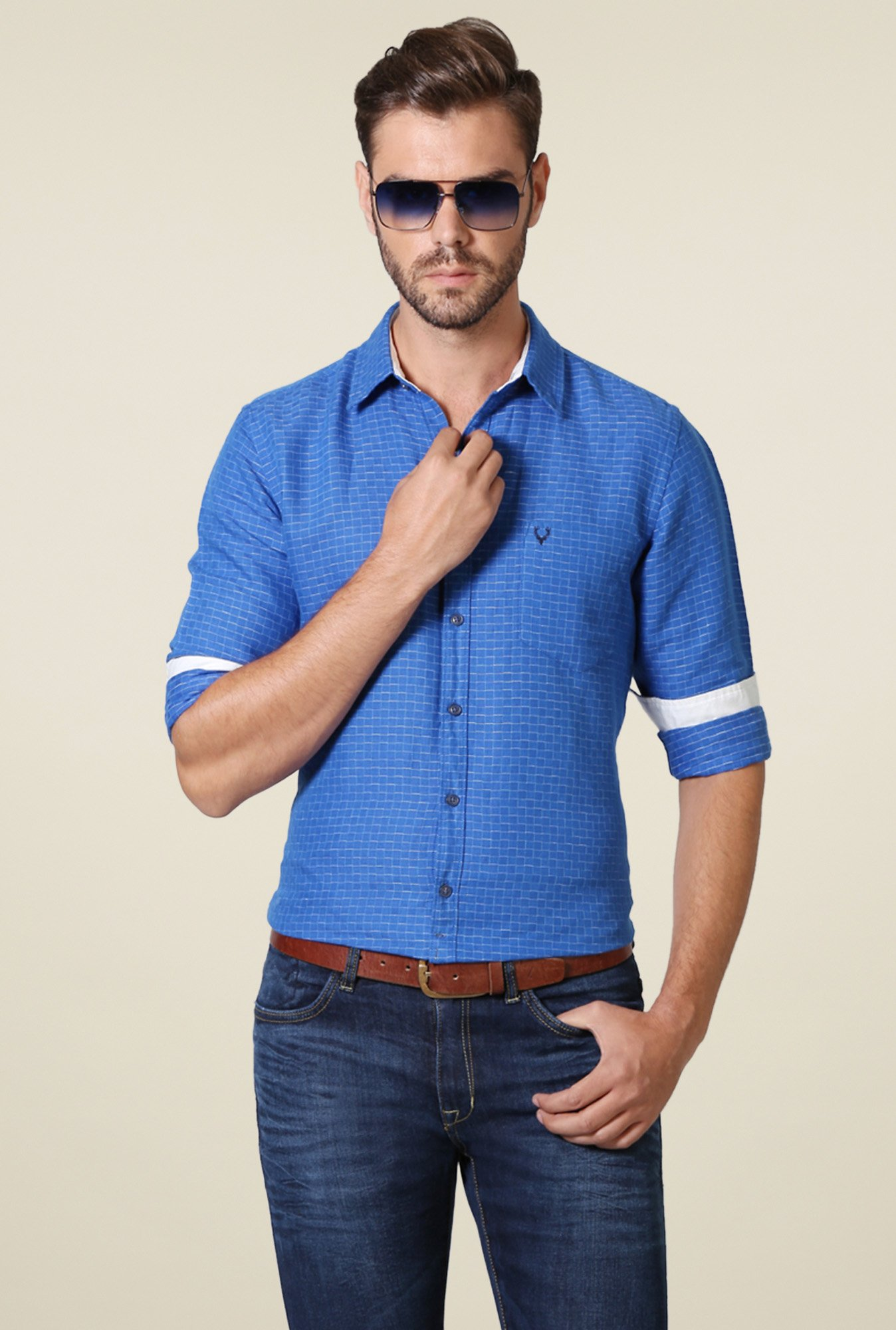 Allen Solly Royal Blue Comfort Fit Checks Shirt