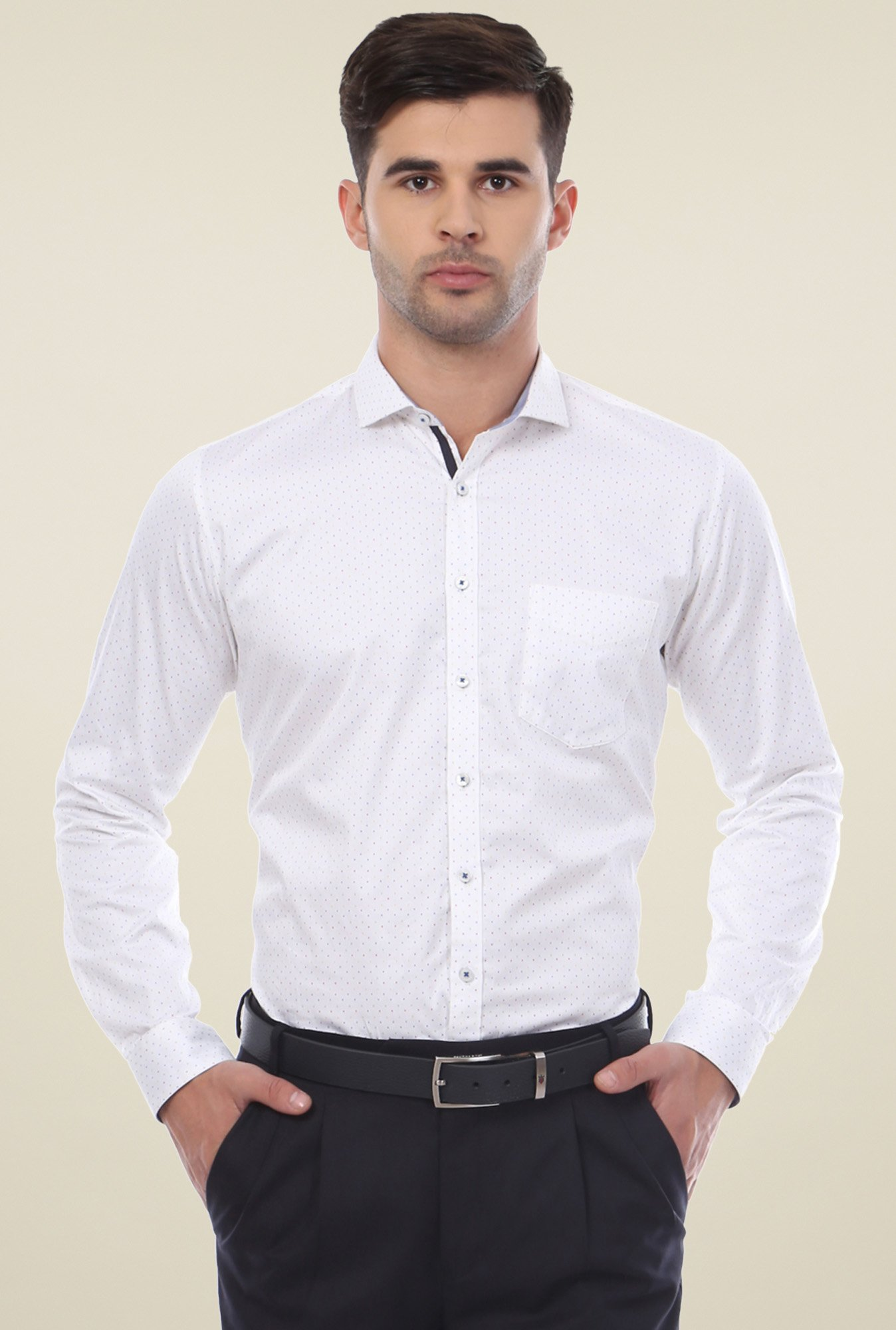 Van Heusen White Slim Fit Printed Shirt