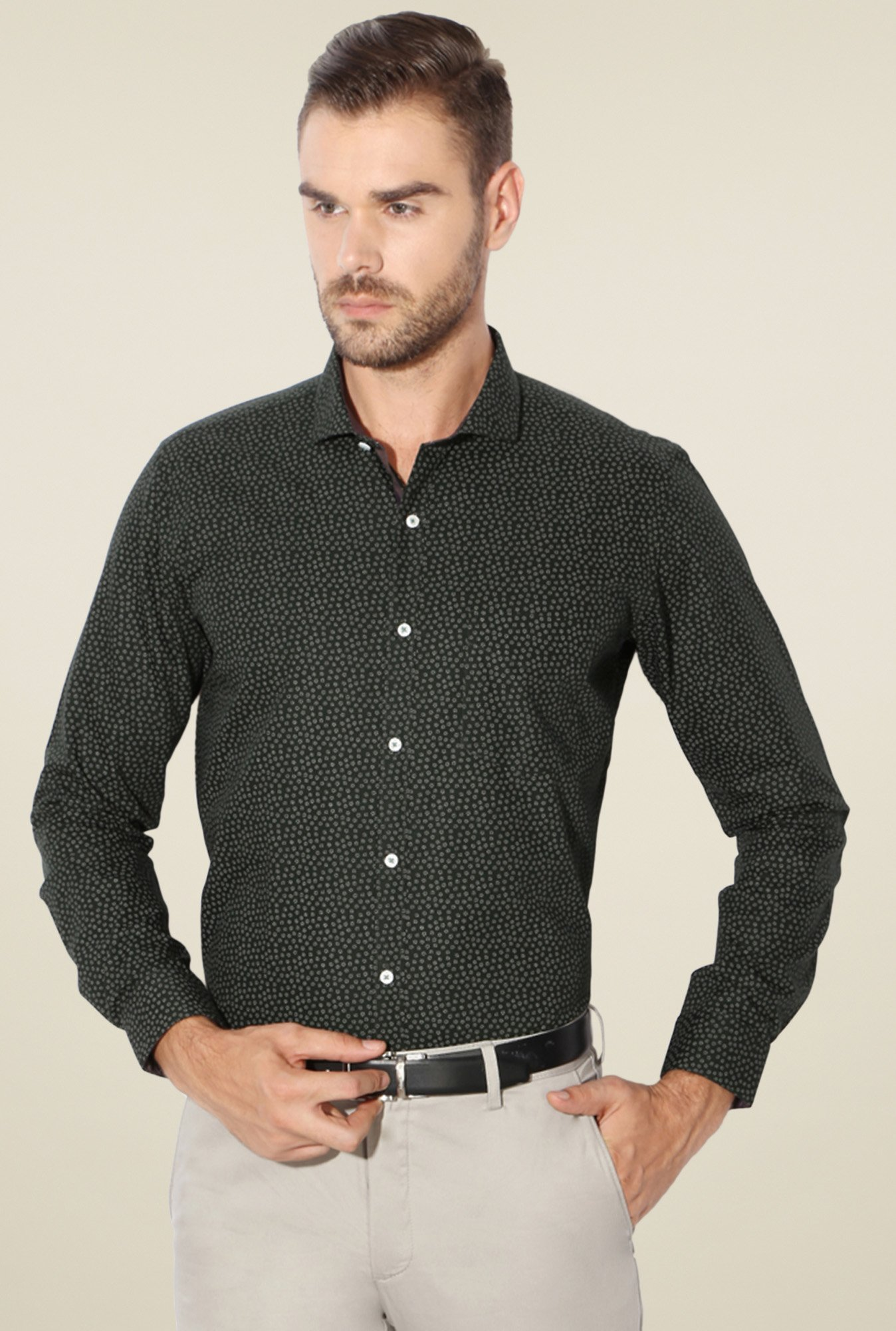 Van Heusen Olive Slim Fit Cotton Shirt
