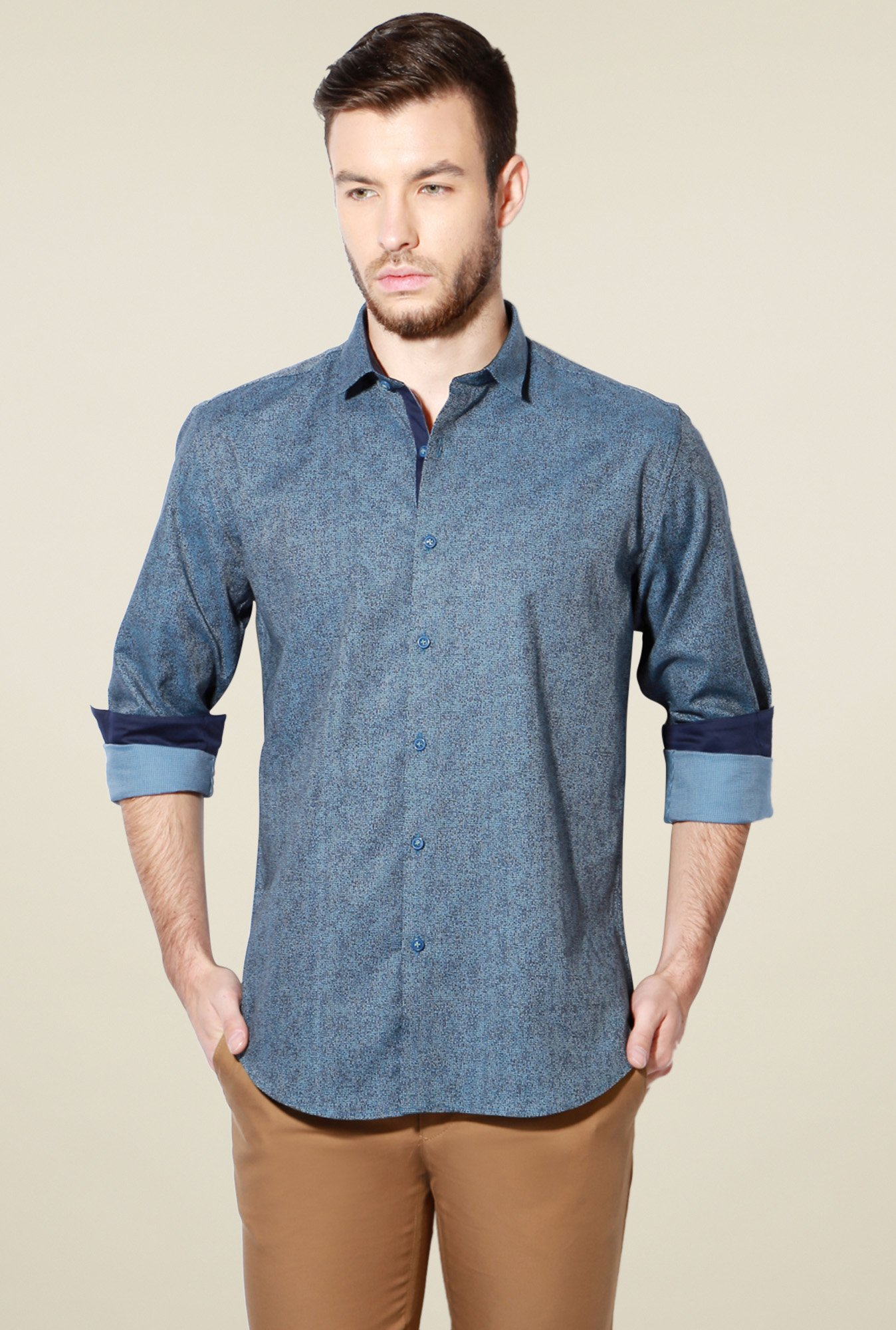 Van Heusen Stone Blue Cotton Shirt