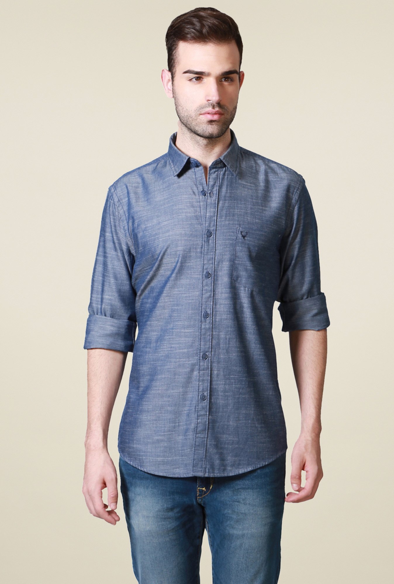 Allen Solly Blue Full Sleeves Comfort Fit Cotton Shirt