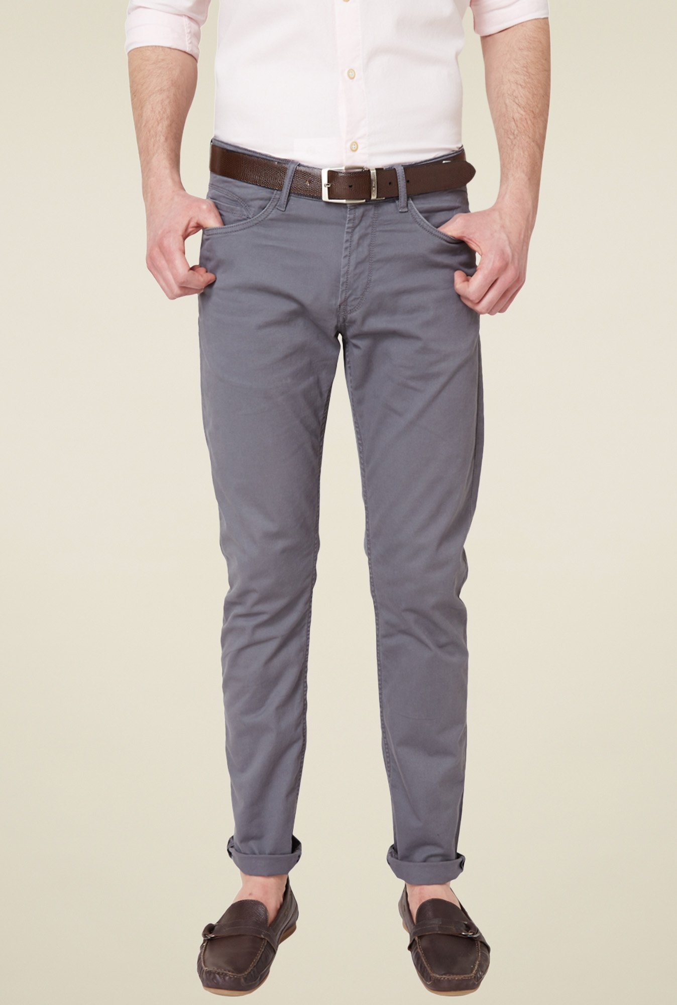 Allen Solly Grey Flat Front Trousers