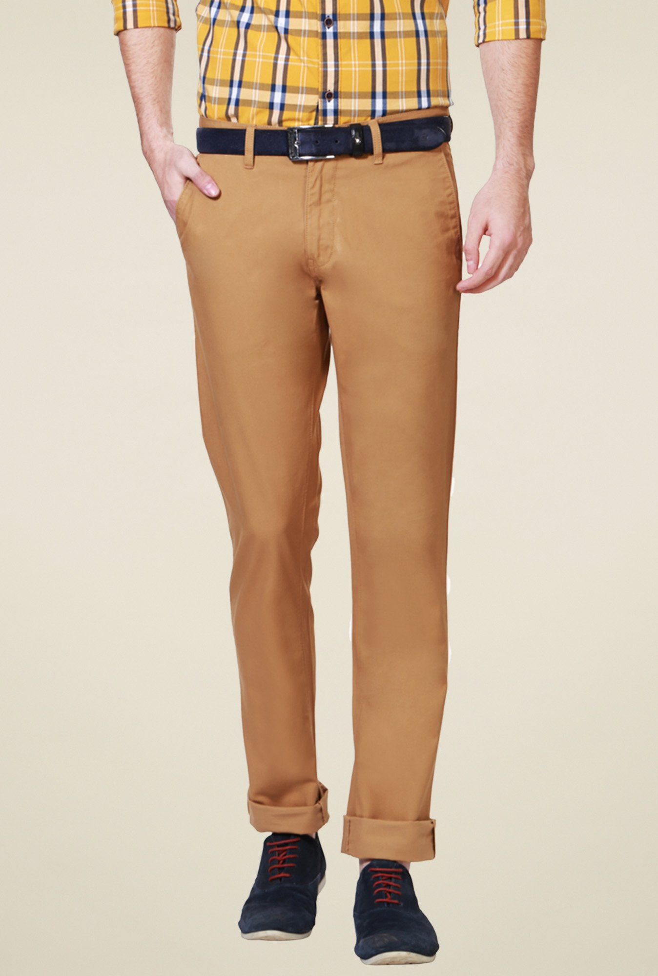 Allen Solly Tan Mid Rise Trousers