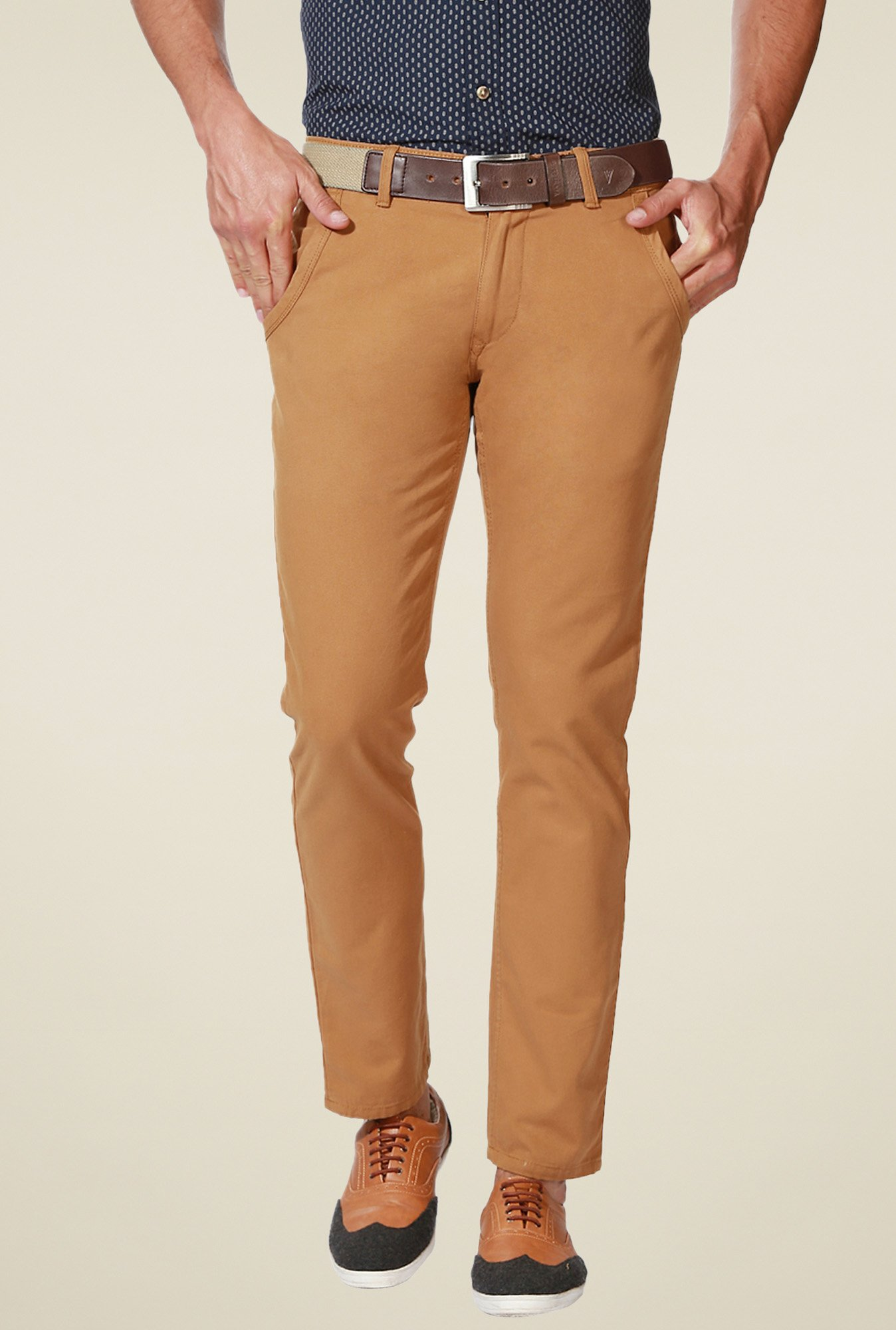 People Khaki Regular Fit Cotton Trousers