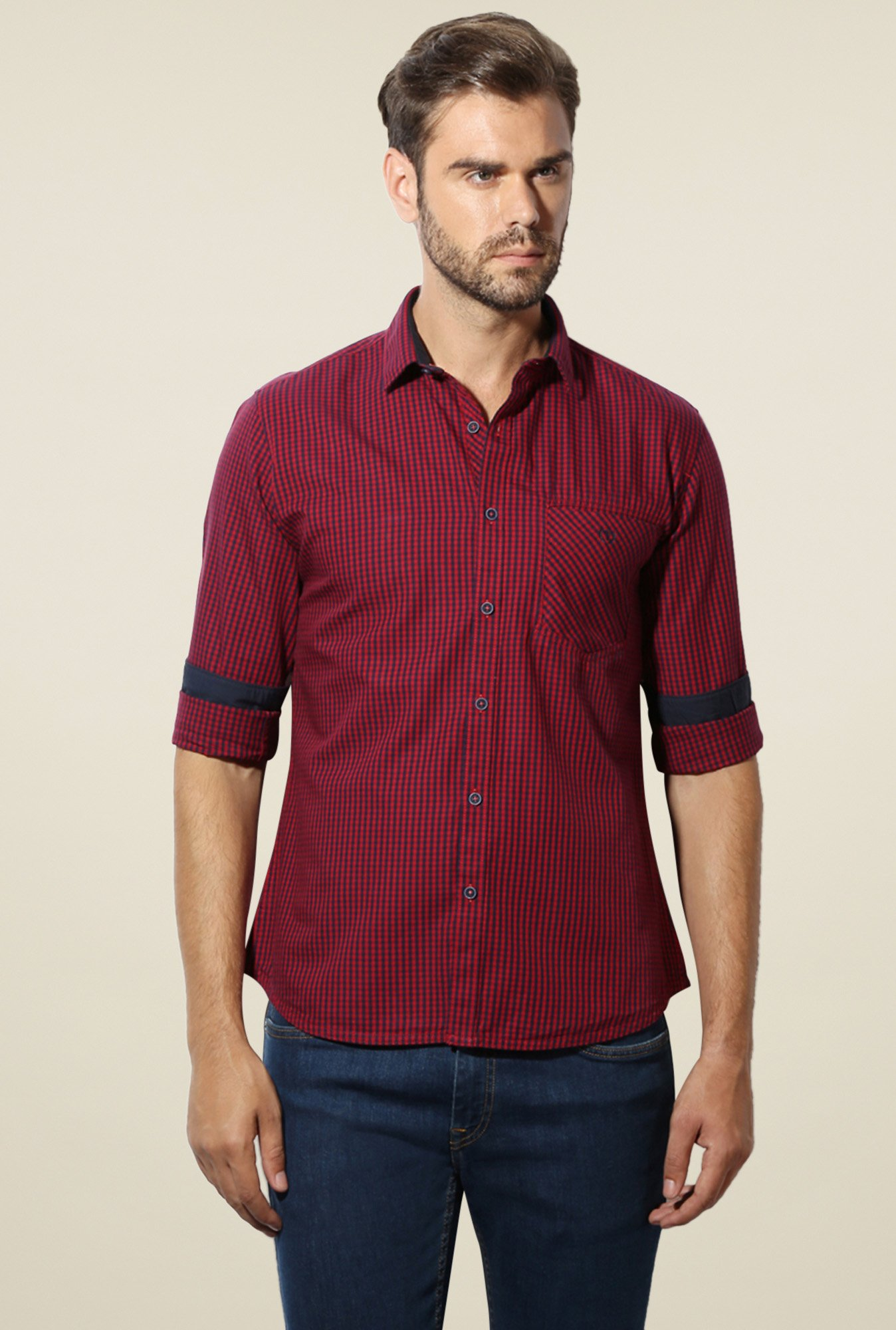 Van Heusen Red Checks Cotton Shirt