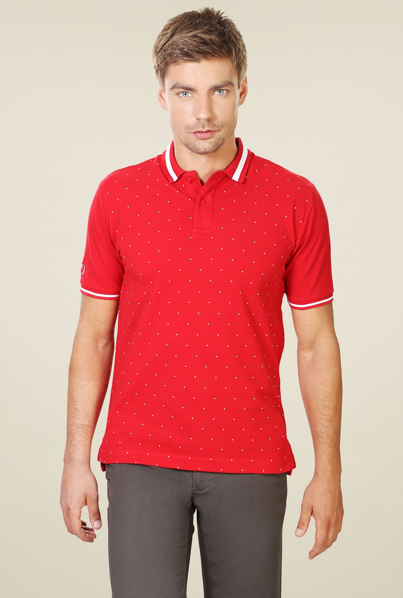 Van Heusen Red Regular Fit Cotton T-Shirt