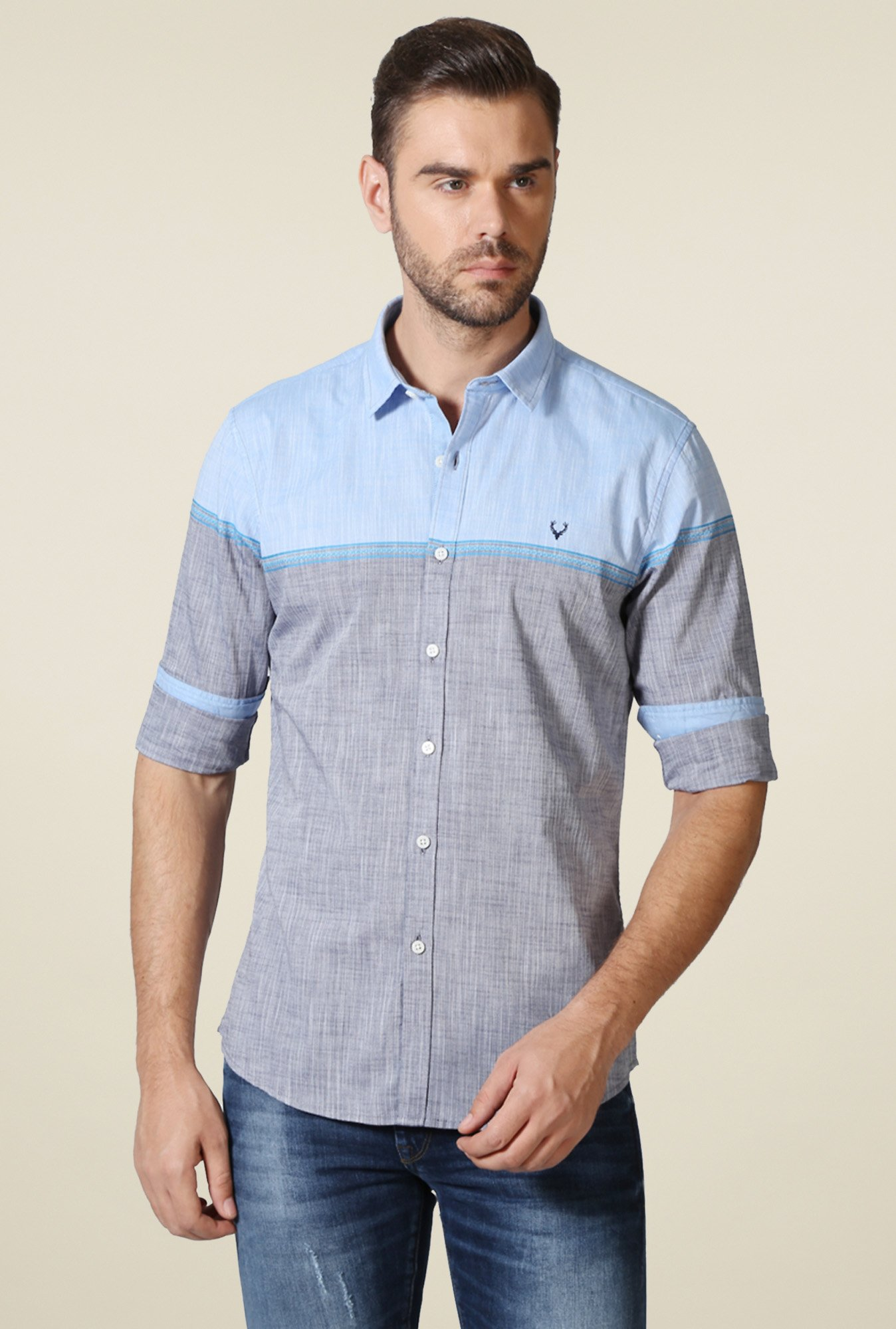 Allen Solly Grey Shirt Collar Full Sleeves Shirt