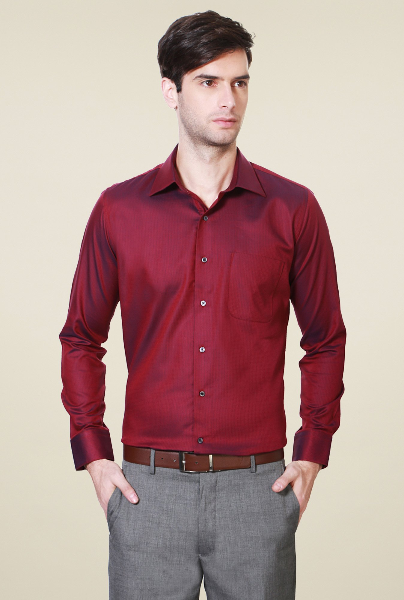 Van Heusen Maroon Slim Fit Cotton Shirt