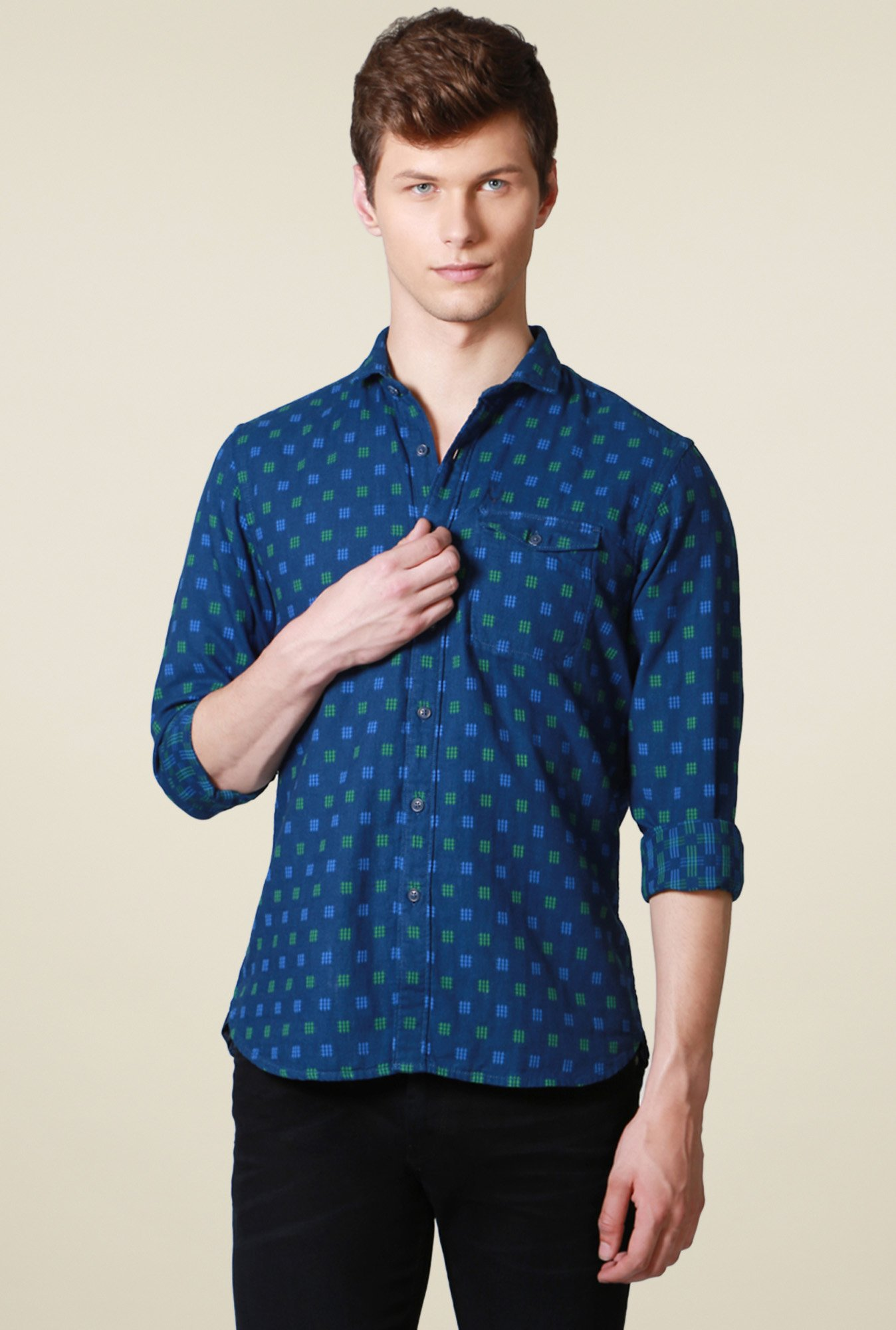 Allen Solly Dark Blue Comfort Fit Printed Shirt