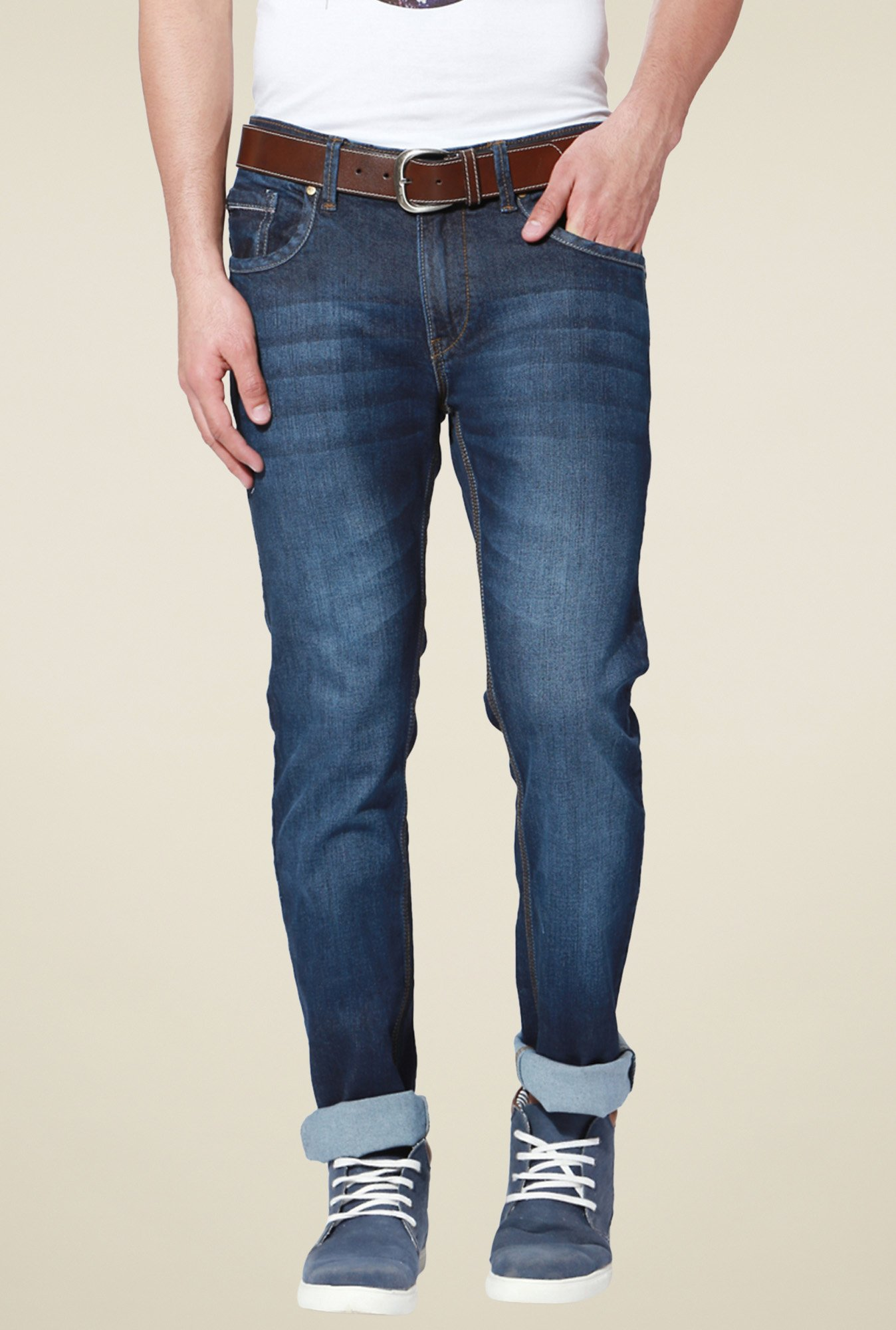People Dark Blue Regular Fit Jeans