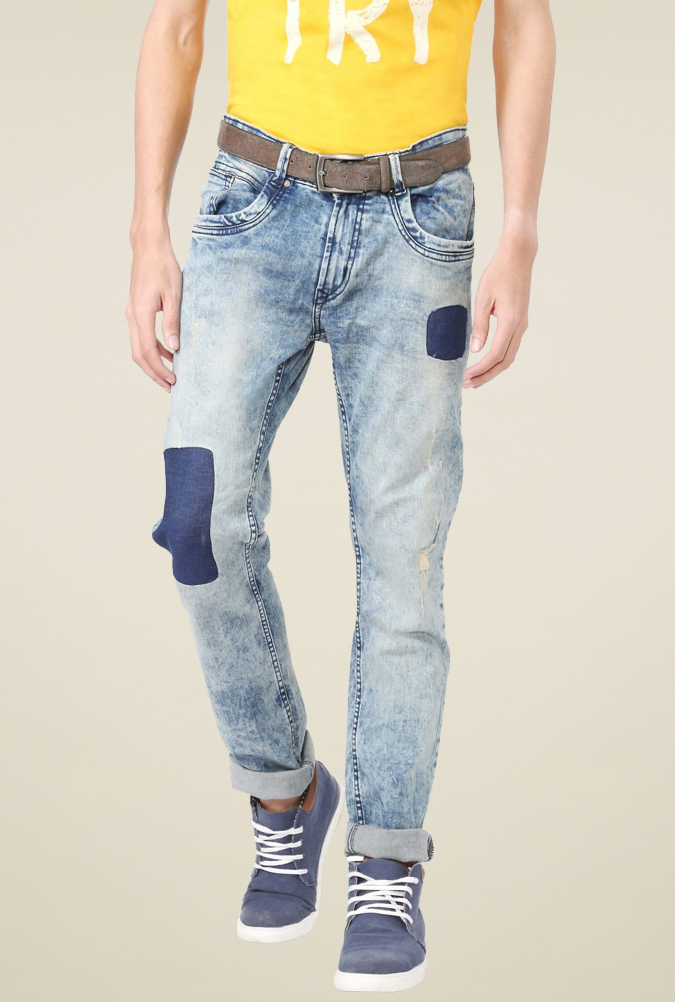 People Blue Slim Fit Heavily Washed Jeans