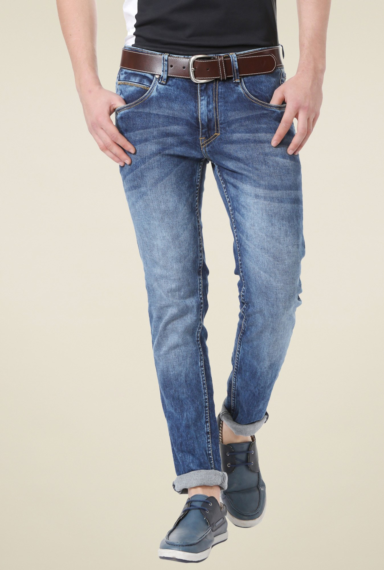 People Blue Heavily Washed Jeans